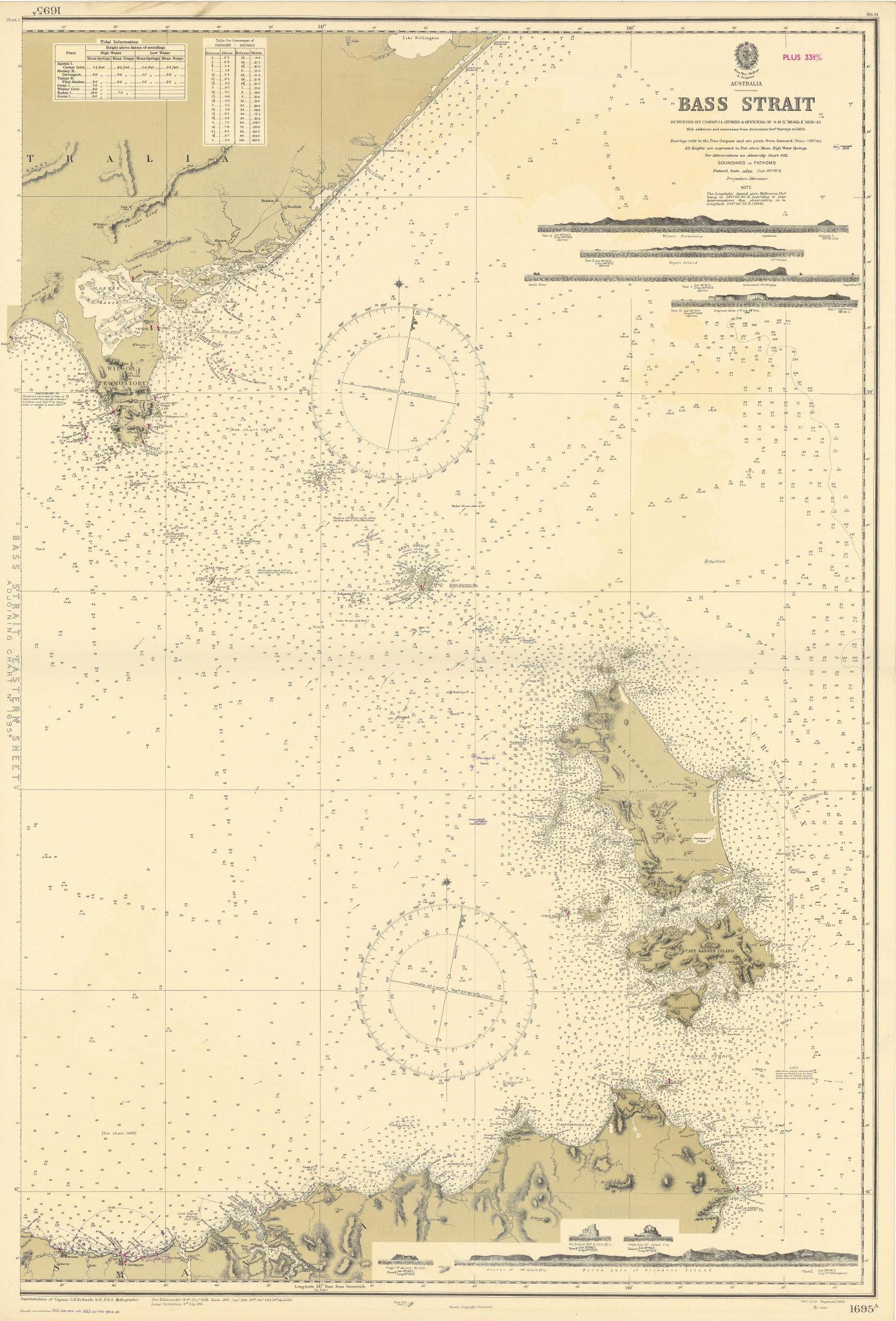 Bass Strait Australia Tasmania Victoria Flinders ADMIRALTY chart 1868 (1954) map