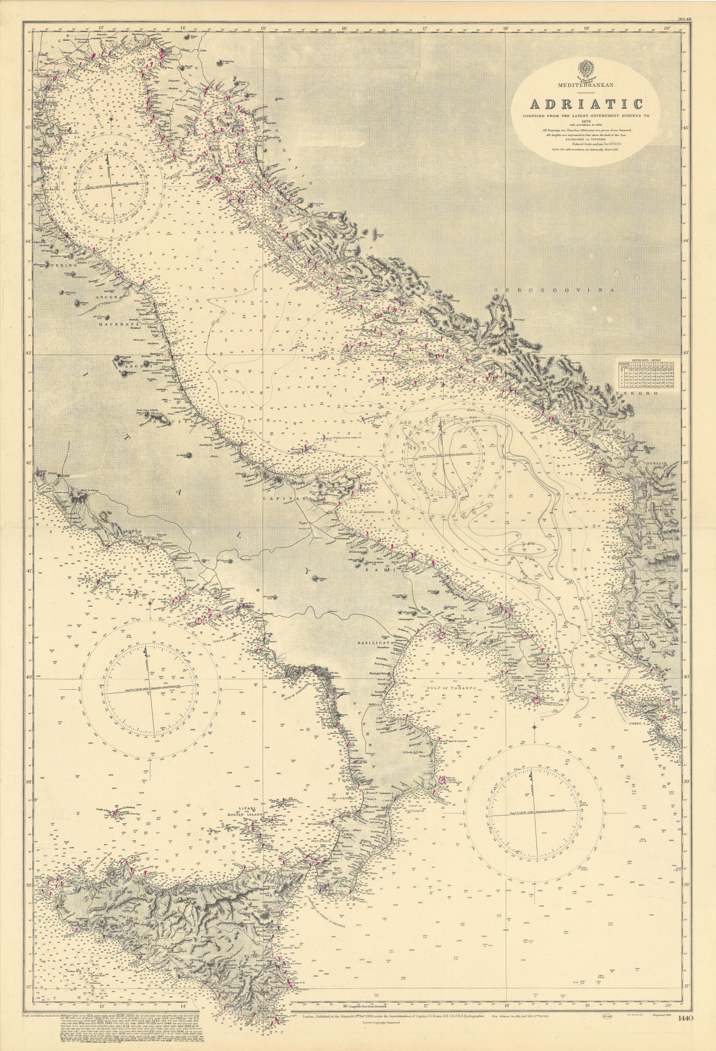 Mediterranean Adriatic Italy Croatia. ADMIRALTY sea chart 1880 (1949) old map