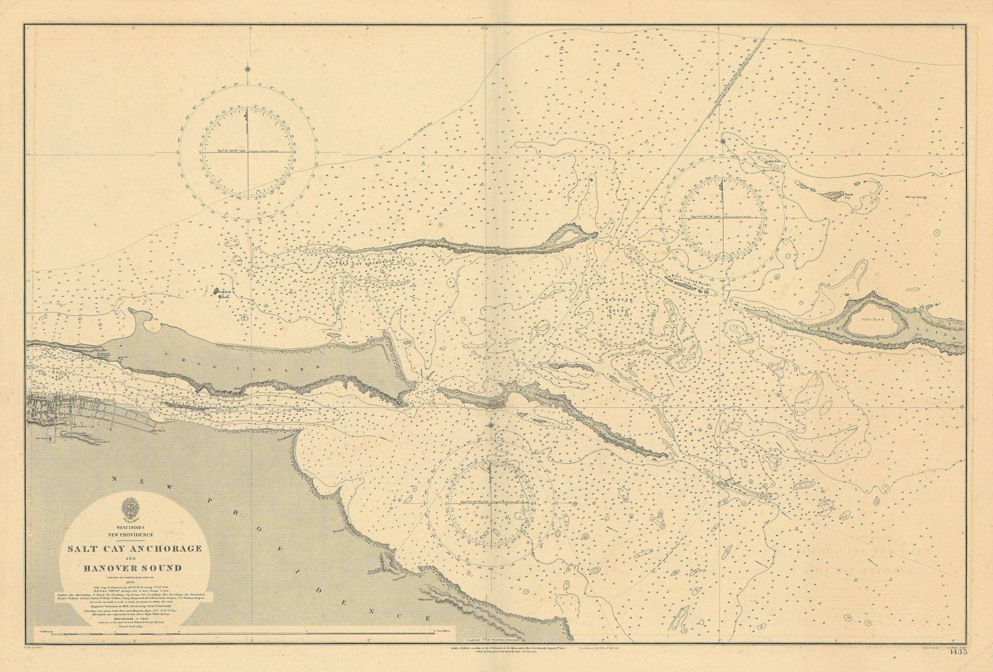 Nassau New Providence Bahamas Paradise Island ADMIRALTY chart 1842 (1914) map