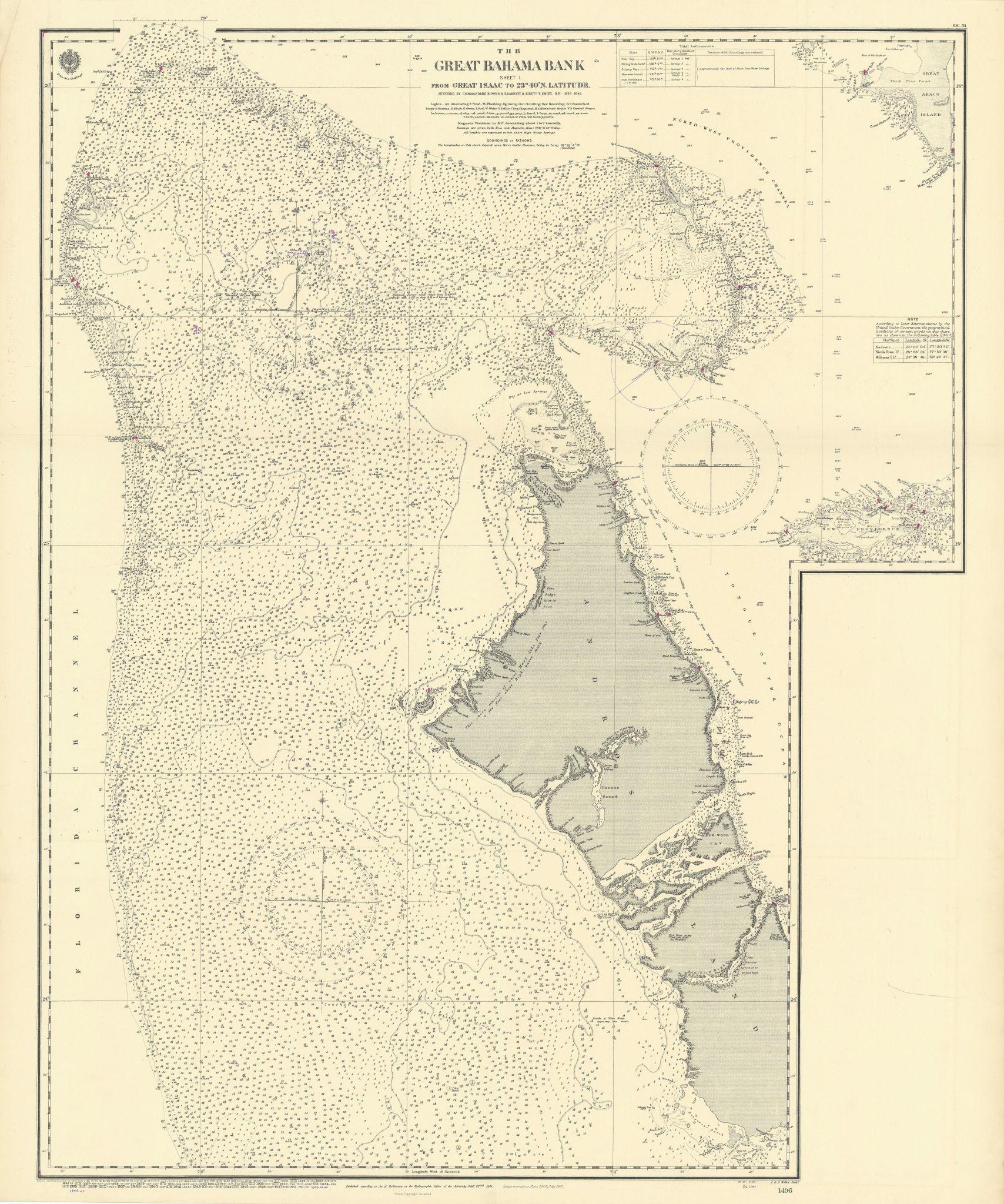 Great Bahama Bank. Andros. New Providence. ADMIRALTY sea chart 1844 (1955) map
