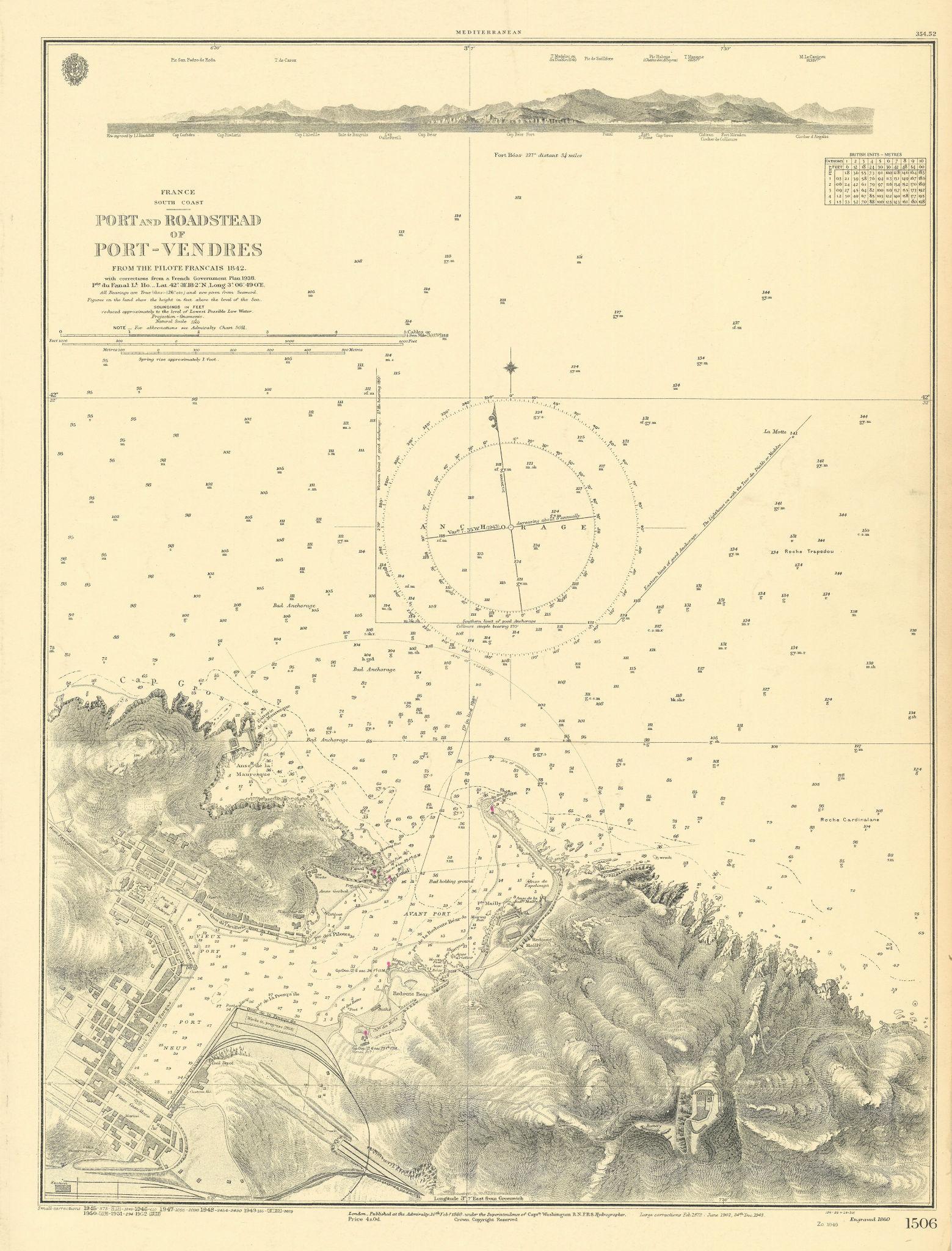 Port-Vendres roadstead. Pyrénées-Orientales. ADMIRALTY sea chart 1860 (1952) map