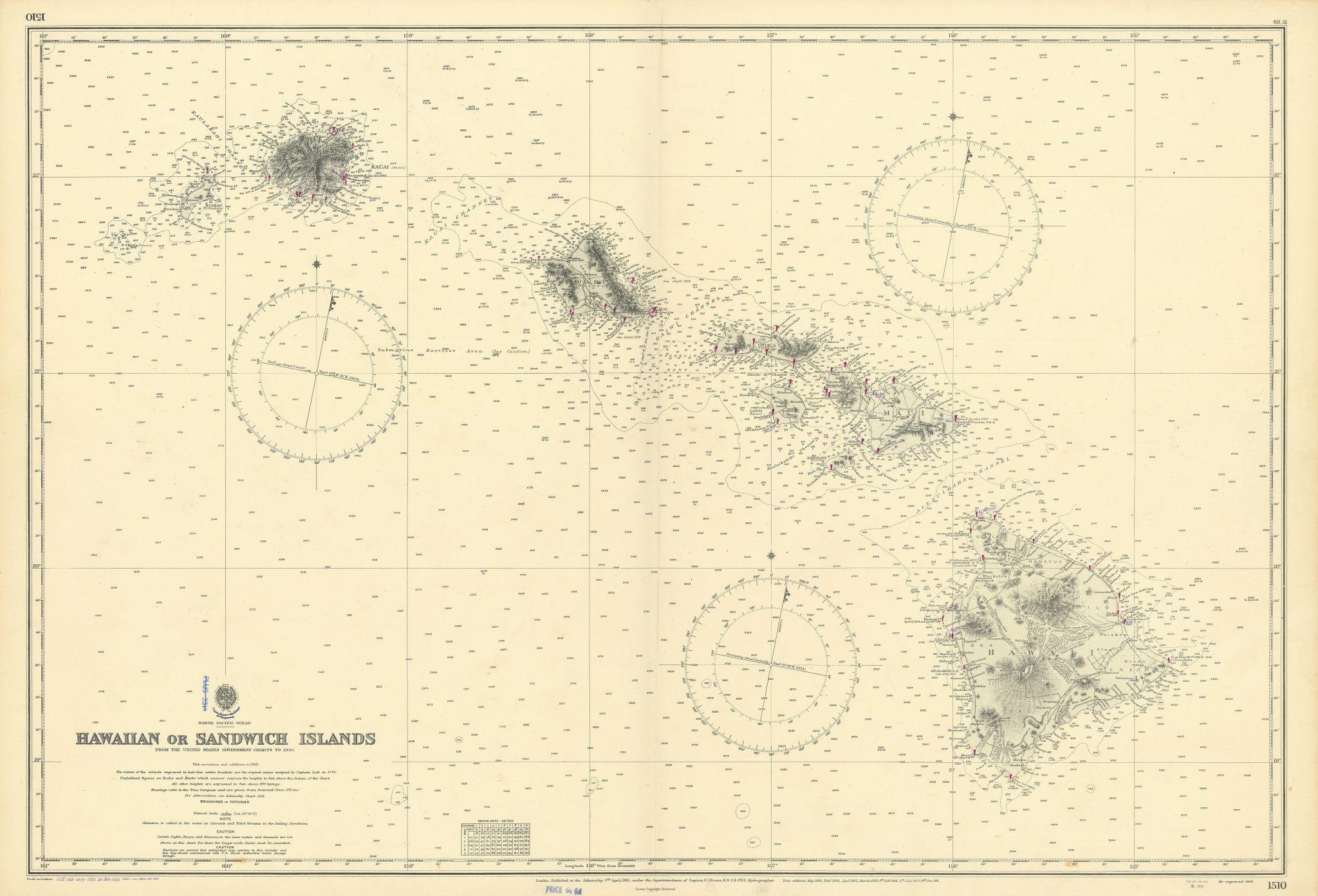 Hawaiian or Sandwich Islands North Pacific Ocean ADMIRALTY chart 1881 (1955) map