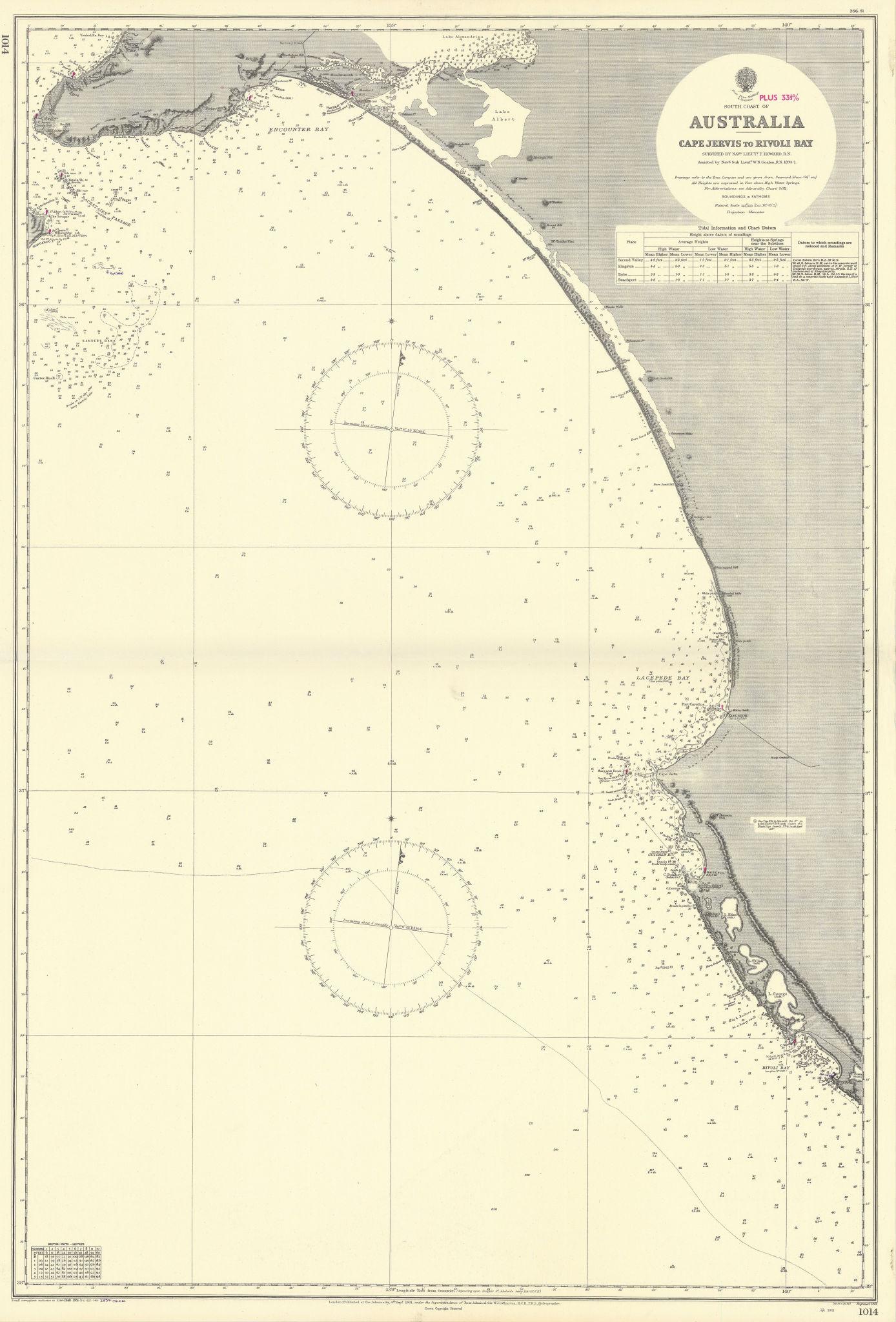 South Australia coast. Long Bay Cape Jervis. ADMIRALTY sea chart 1901 (1954) map