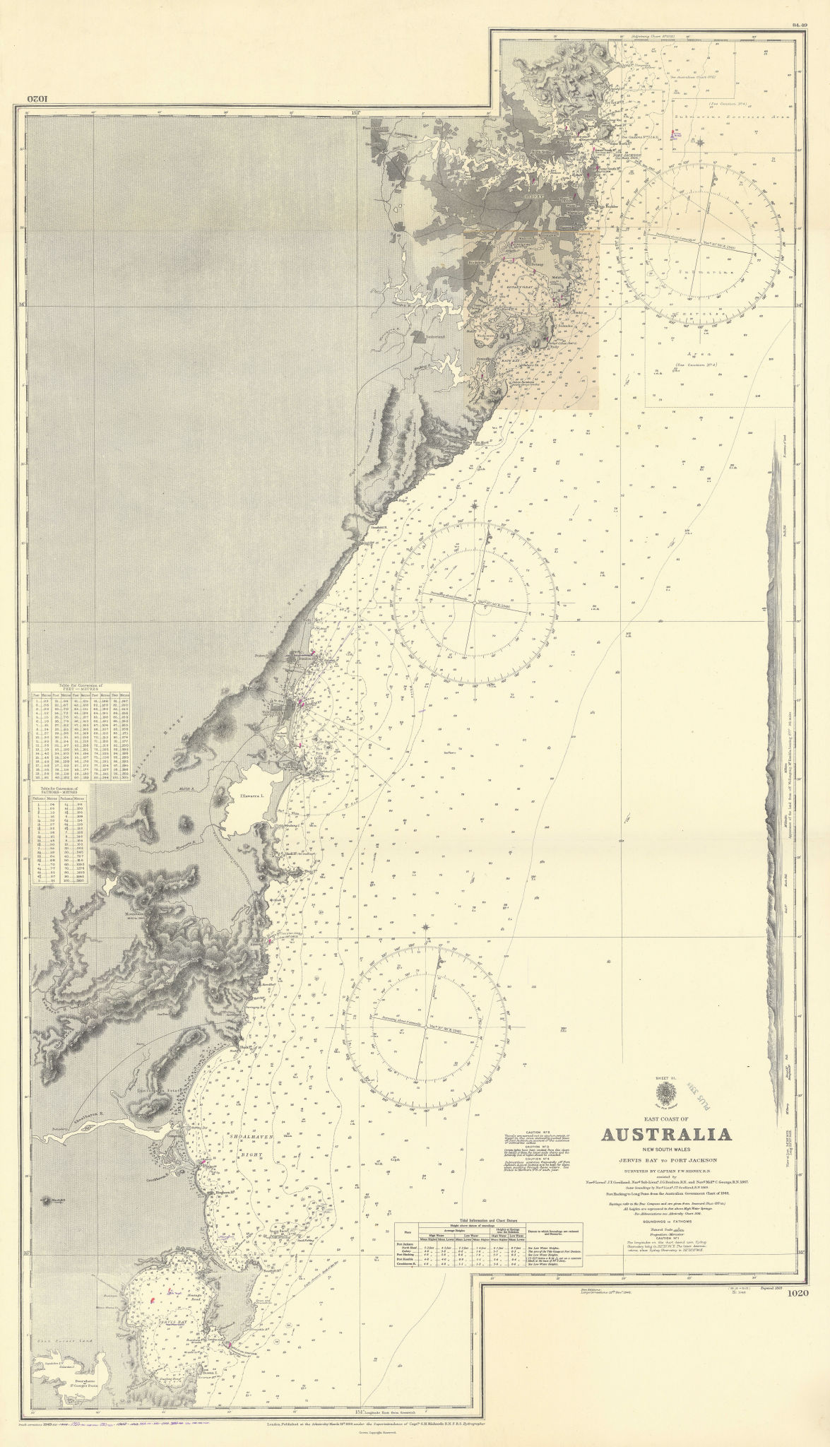 New South Wales coast. Jervis Bay to Sydney. ADMIRALTY sea chart 1869 (1955) map
