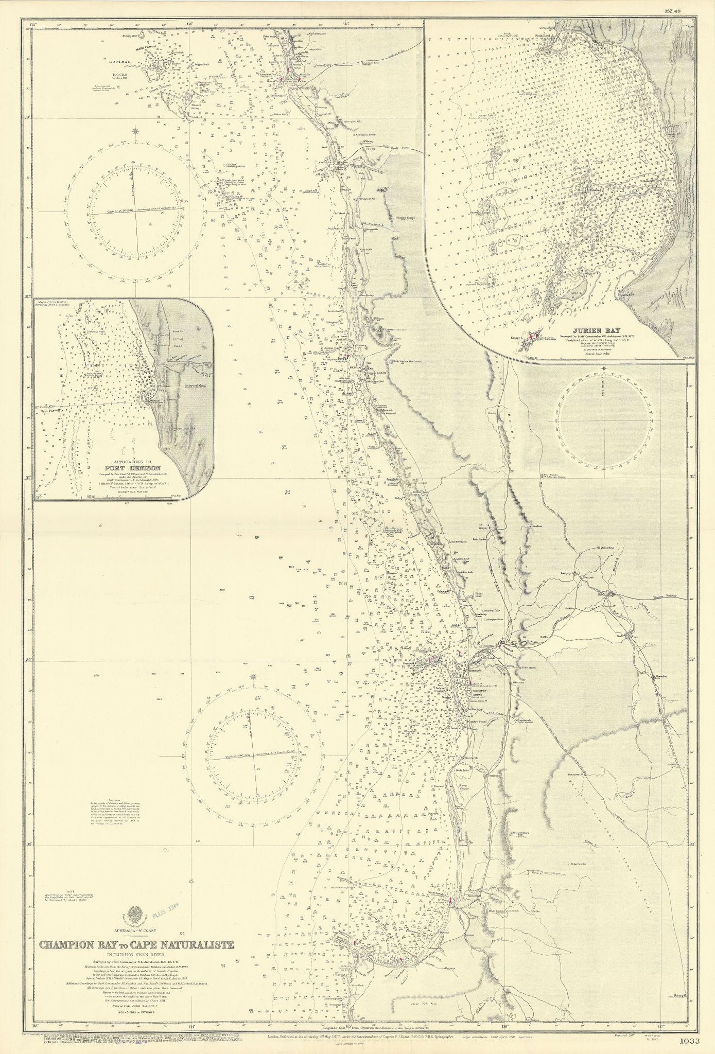 Western Australia coast Margaret River-Geraldton ADMIRALTY chart 1877 (1955) map