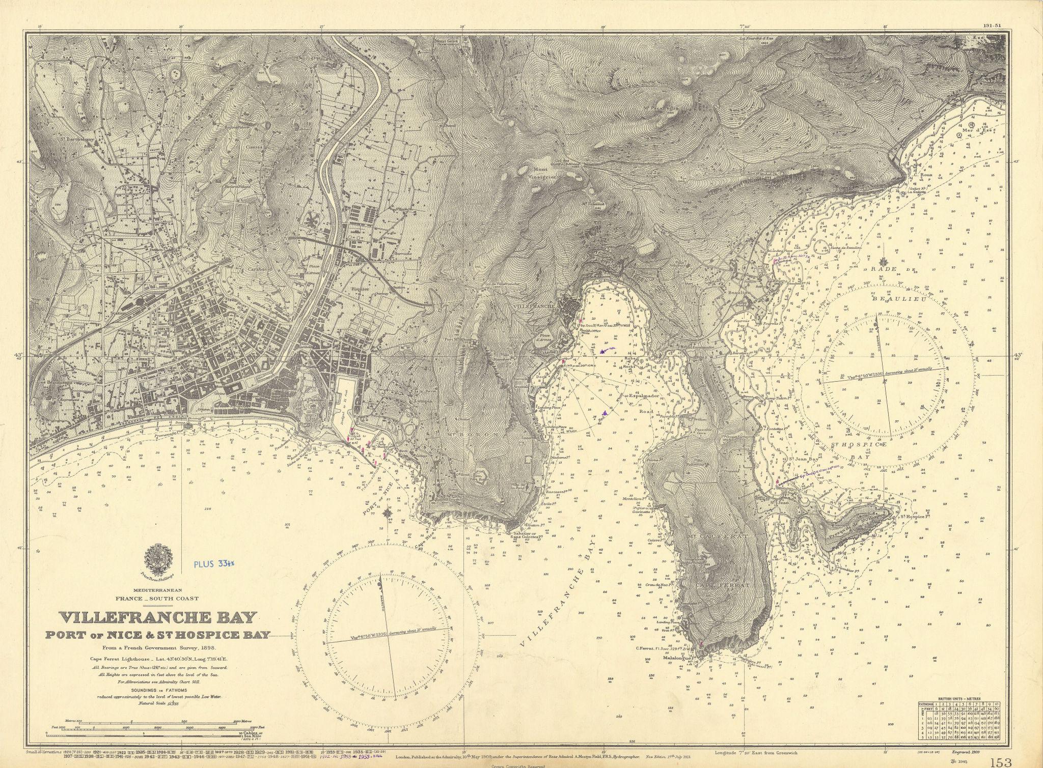 Nice Villefranche Bay Cap Ferrat Alpes-Maritimes ADMIRALTY chart 1909 (1955) map