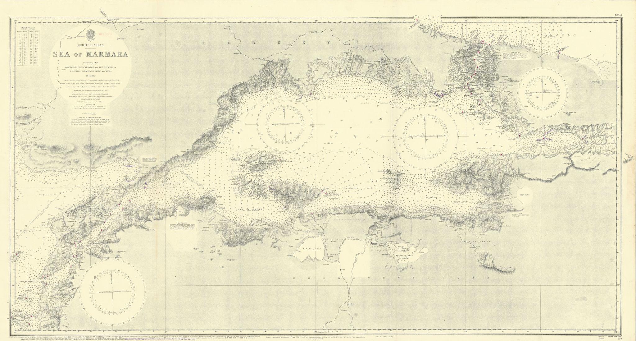 Sea of Marmara. Turkey Istanbul Dardanelles. ADMIRALTY sea chart 1882 (1954) map