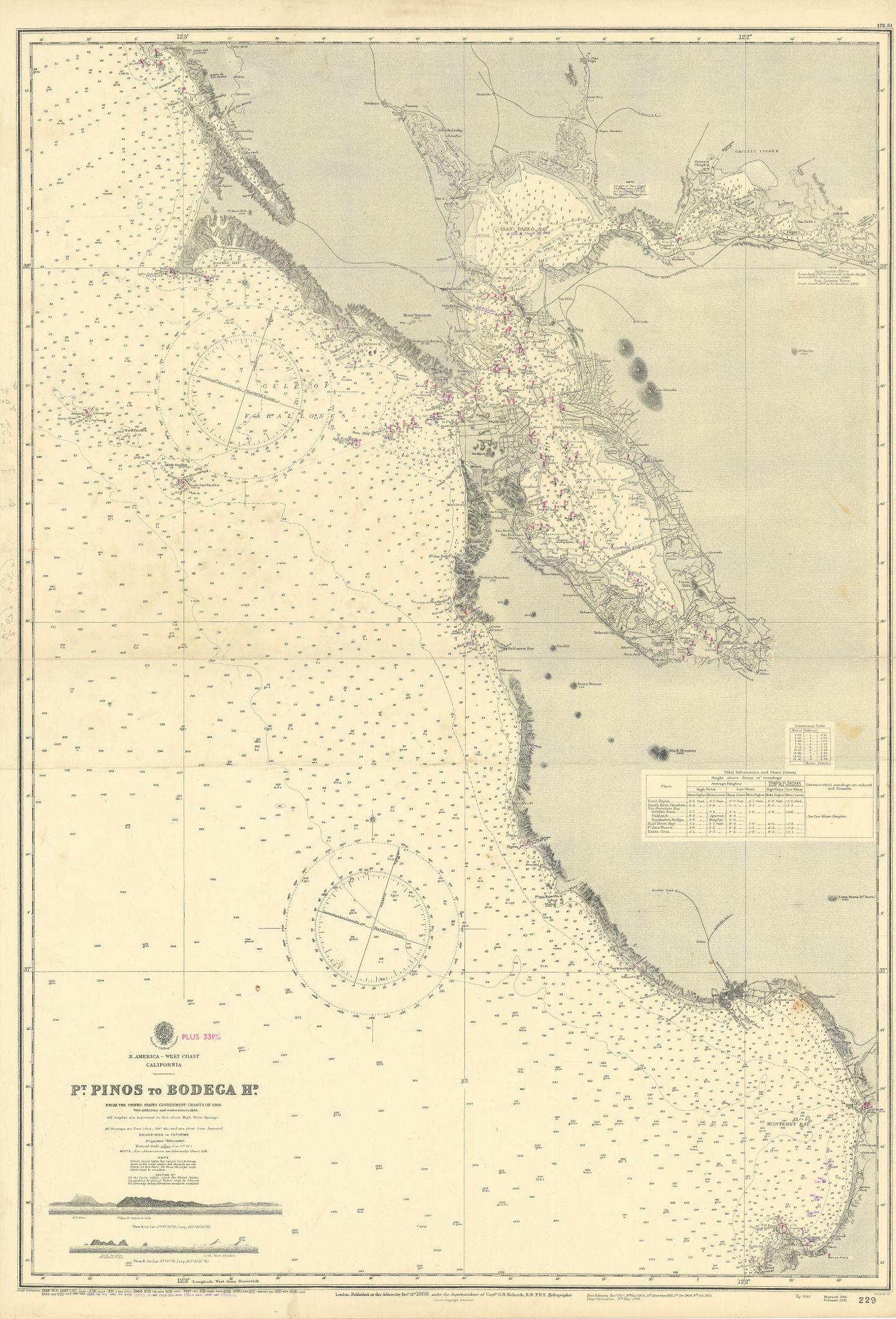 California coast. Monterey San Francisco Bay ADMIRALTY sea chart 1868 (1955) map