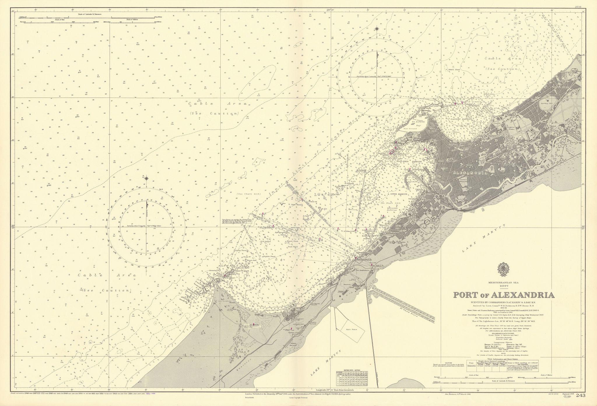 Port of Alexandria, Egypt. Mediterranean. ADMIRALTY sea chart 1940 (1956) map