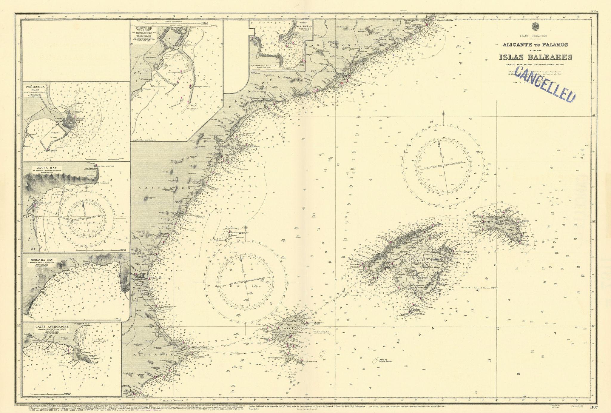 Balearics Catalunya Valencia coast ports ADMIRALTY sea chart 1882 (1955) map