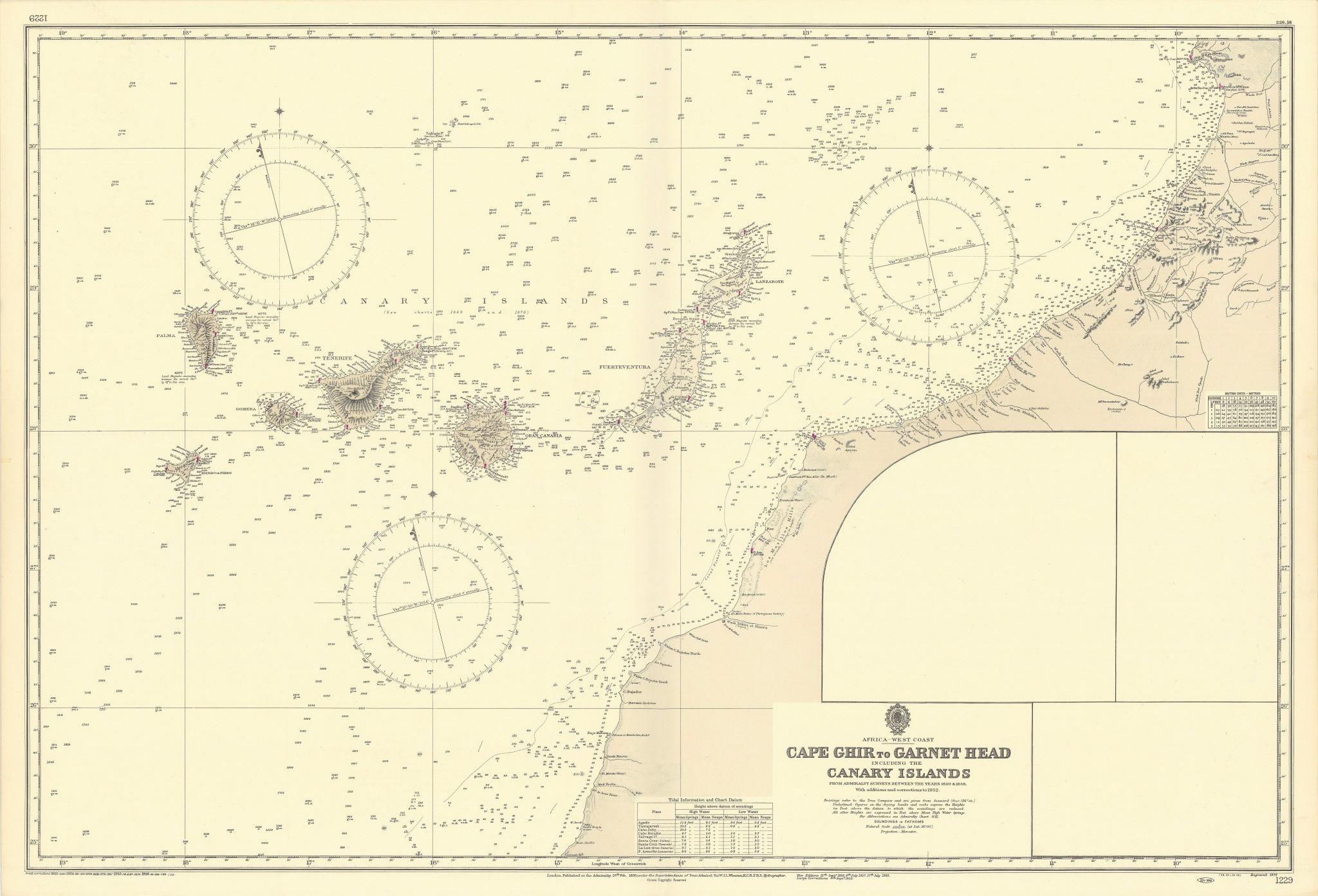 Canary Islands Morocco Western Sahara coast. ADMIRALTY sea chart 1898 (1956) map
