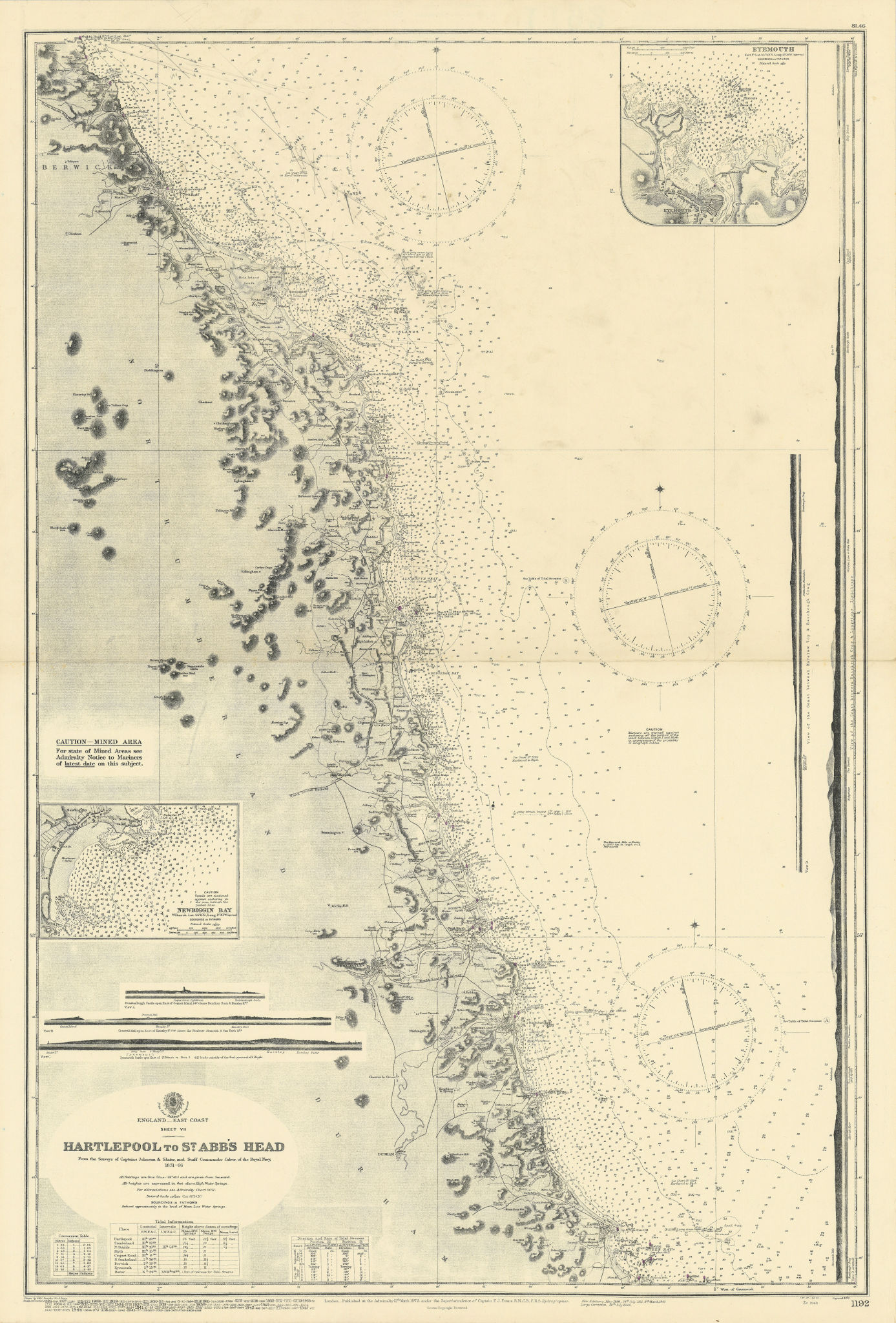 Northeast England coast. Hartlepool-Eyemouth ADMIRALTY sea chart 1879 (1945) map