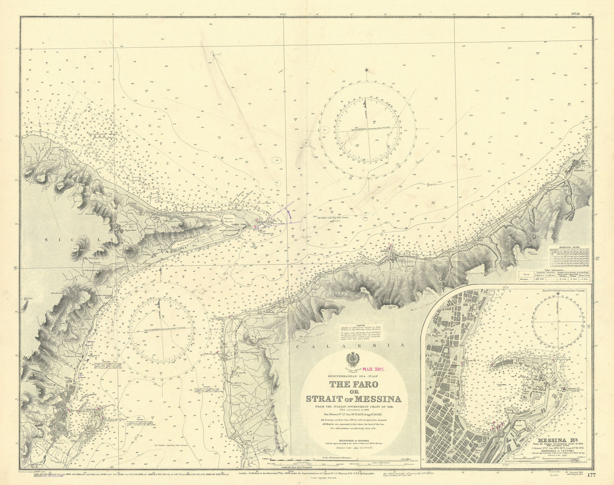 Faro or Strait of Messina. Harbour Sicily. ADMIRALTY sea chart 1889 (1953) map