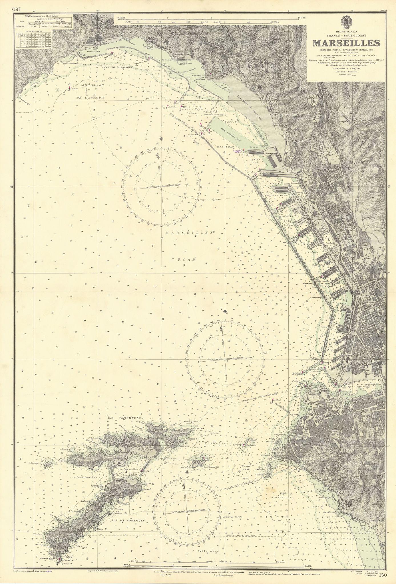 Marseilles port. Bouches-du-Rhône. ADMIRALTY sea chart 1909 (1956) old map
