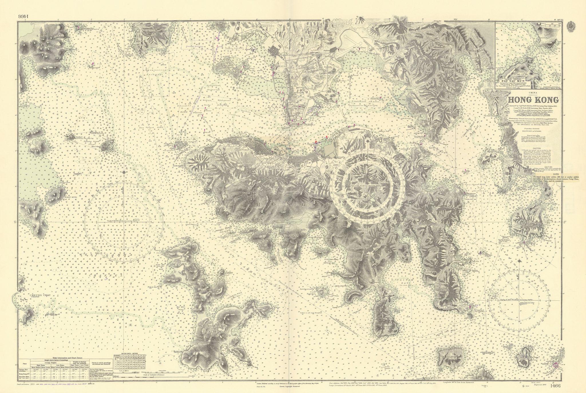 Hong Kong & Kowloon. China Sea. Belcher / ADMIRALTY sea chart 1843 (1956) map