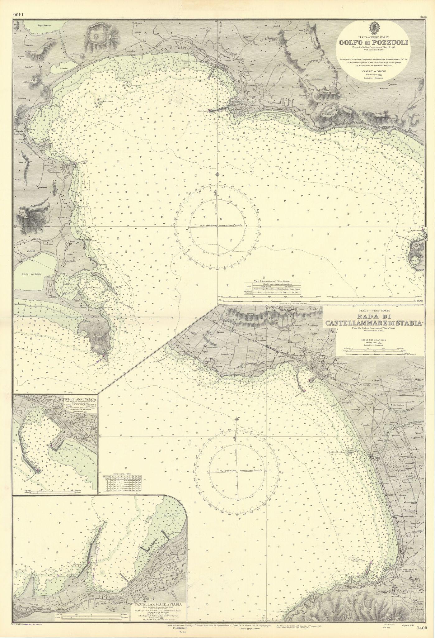 Gulf of Naples Pozzuoli Castellammare Stabia ADMIRALTY sea chart 1890 (1955) map