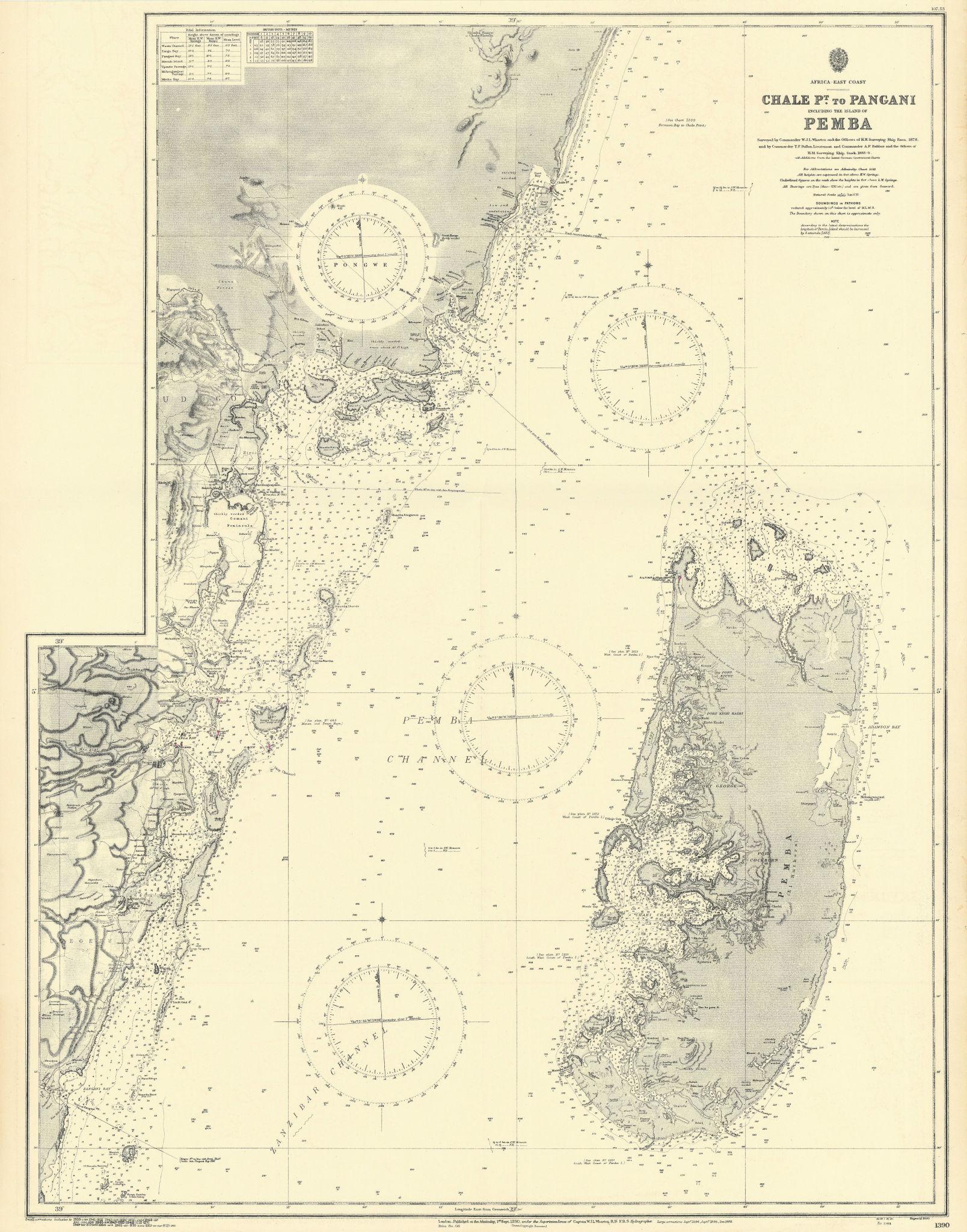 Pemba Island. North Tanzania/S Kenya coast ADMIRALTY sea chart 1890 (1953) map
