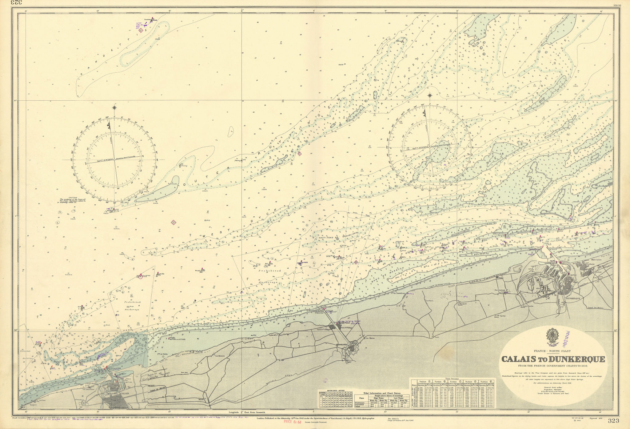 Calais-Dunkerque coast Nord Pas-de-Calais ADMIRALTY chart 1940 (1953) old map