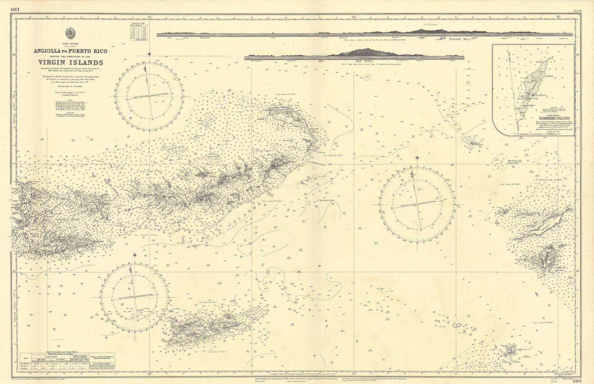 Anegada Passage Virgin Islands St Martin ADMIRALTY chart 1868 (1952) old map