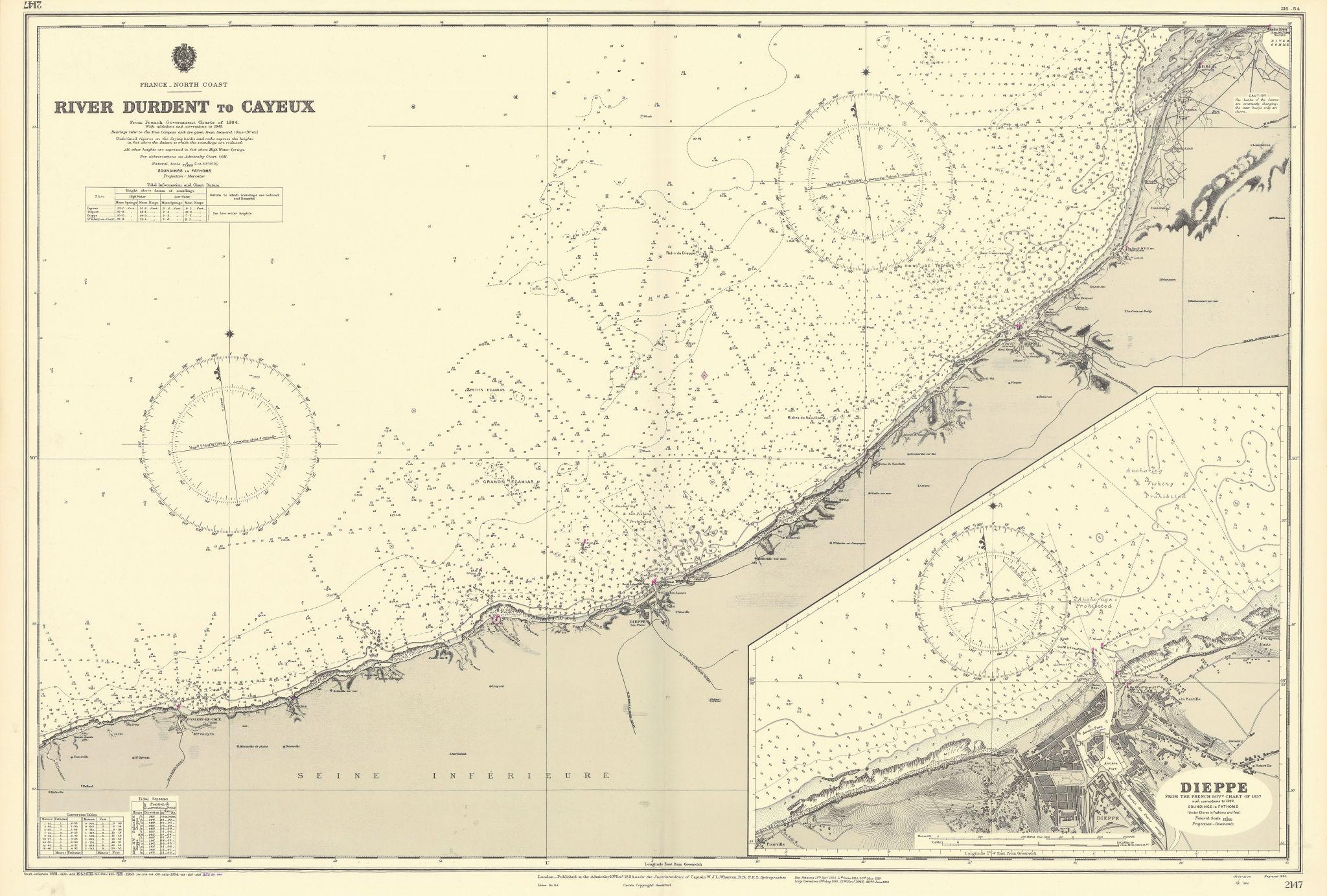Seine-Maritime Somme coast Durdent-Cayeux Dieppe ADMIRALTY chart 1894 (1955) map