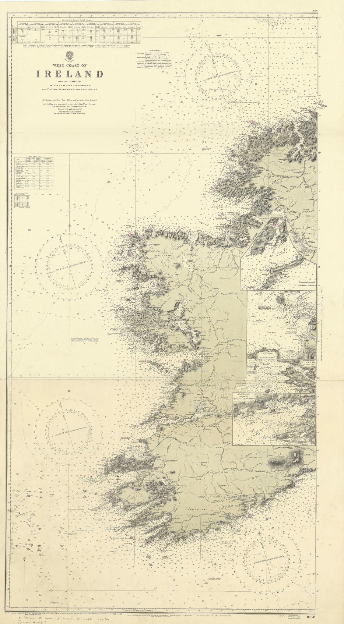 Ireland West Coast Killybegs Sligo Galway ADMIRALTY chart 1862 (1949) old map