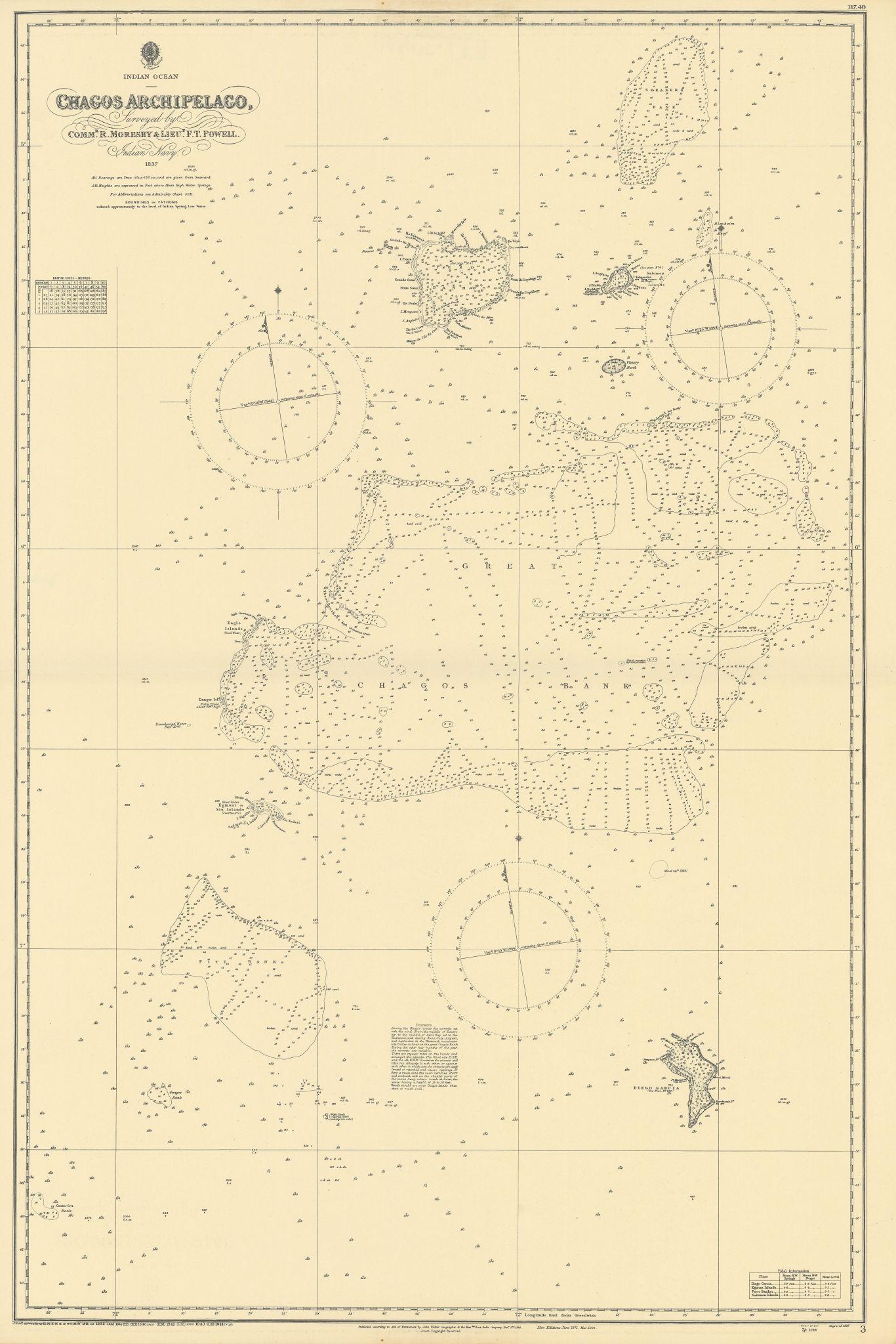 Chagos Archipelago Indian Ocean EAST INDIA COMPANY/Walker chart 1839 (1944) map