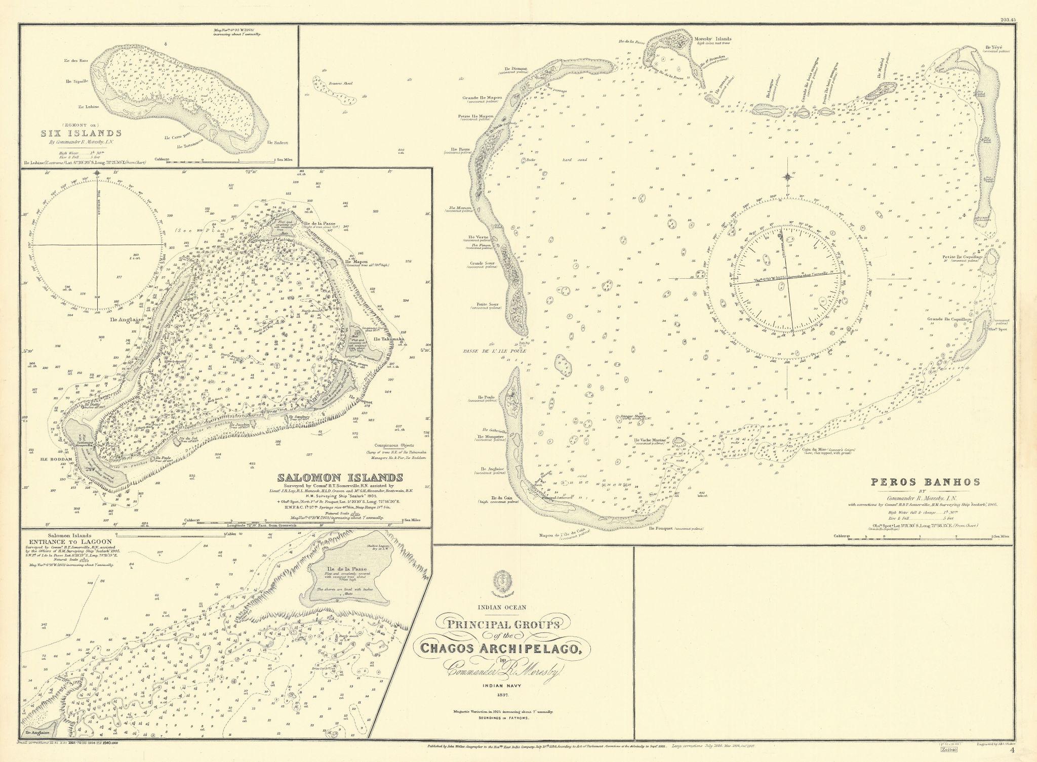 Chagos Islands Peros Banhos Egmont Salomon EAST INDIA CO. chart 1839 (1940) map