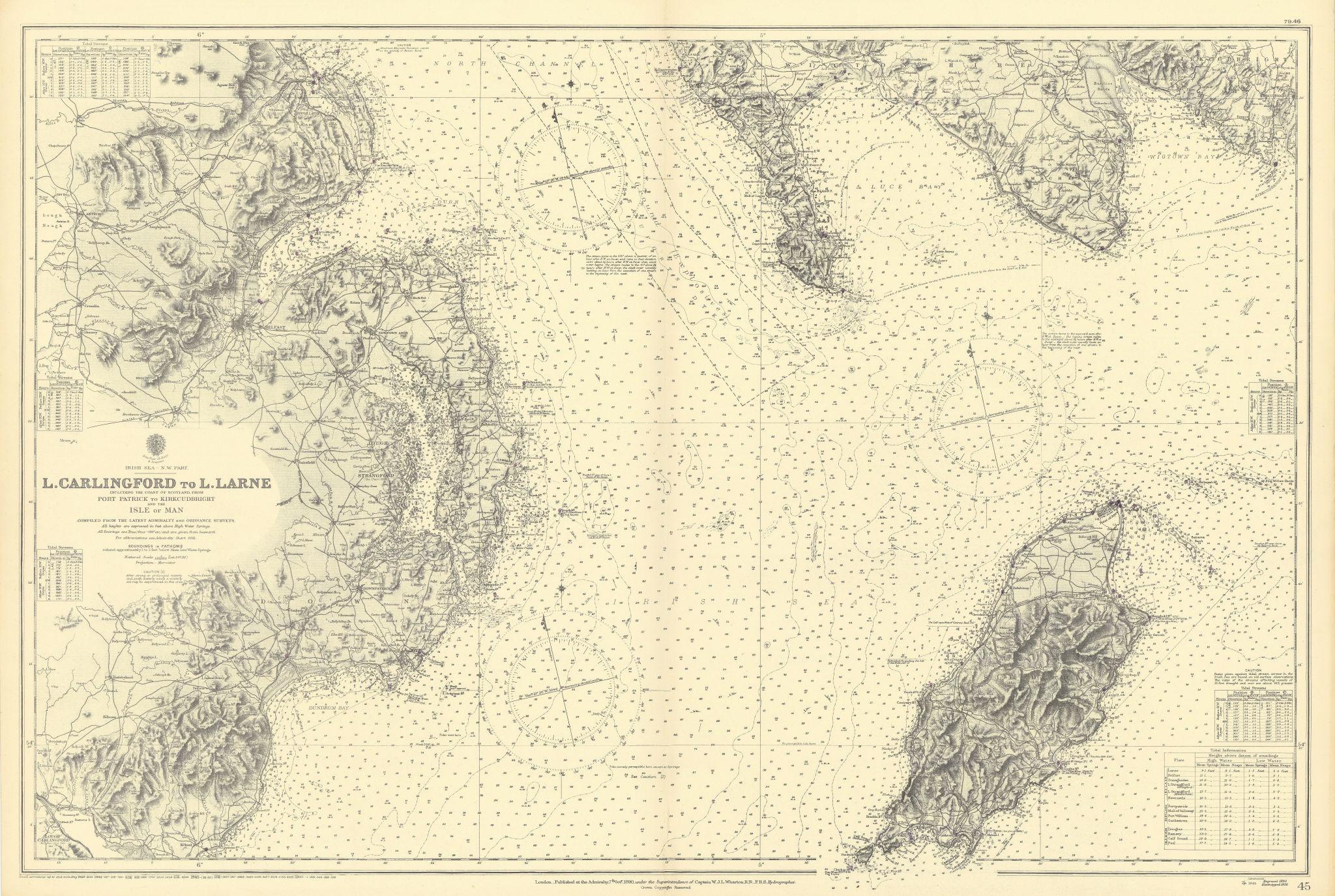 NW Irish Down Antrim Isle of Man Wigtownshire ADMIRALTY chart 1890 (1946) map