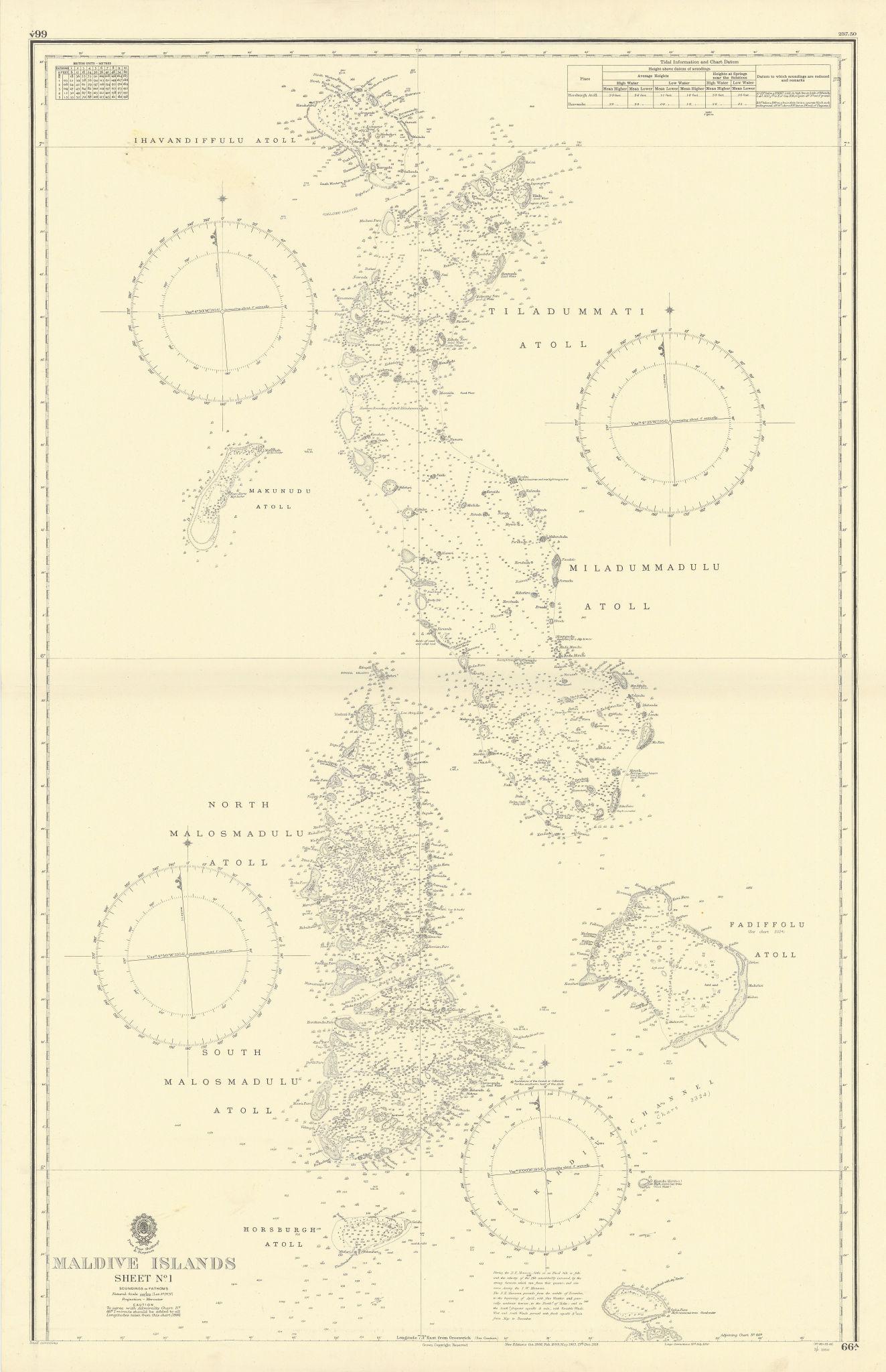 Maldive Islands #1 North Walker/EAST INDIA COMPANY sea chart 1839 (1950) map