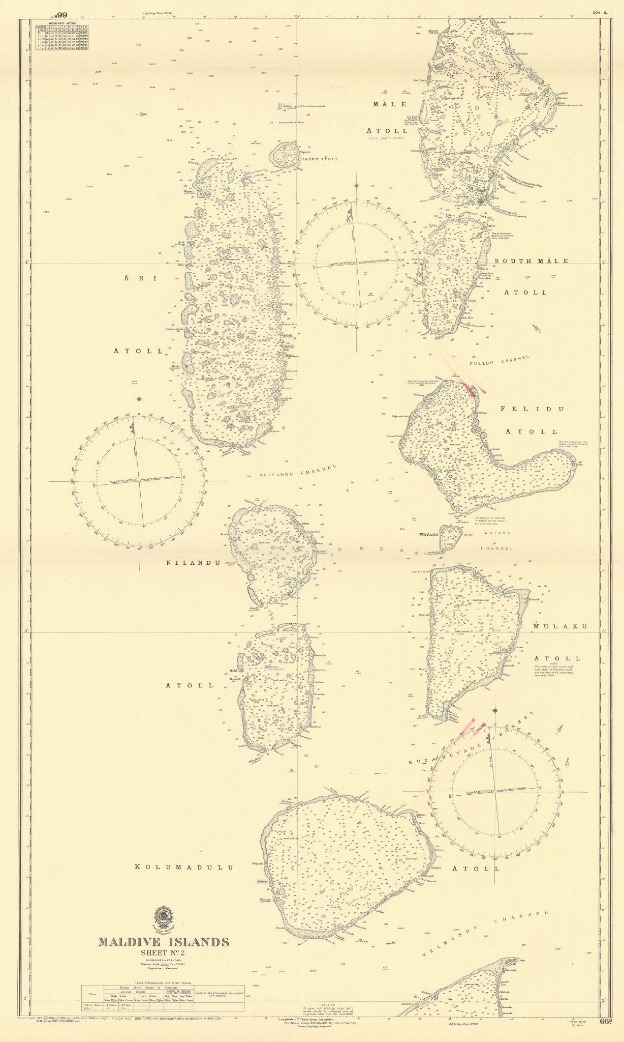 Maldive Islands #2 Centre Walker/EAST INDIA COMPANY sea chart 1839 (1950) map