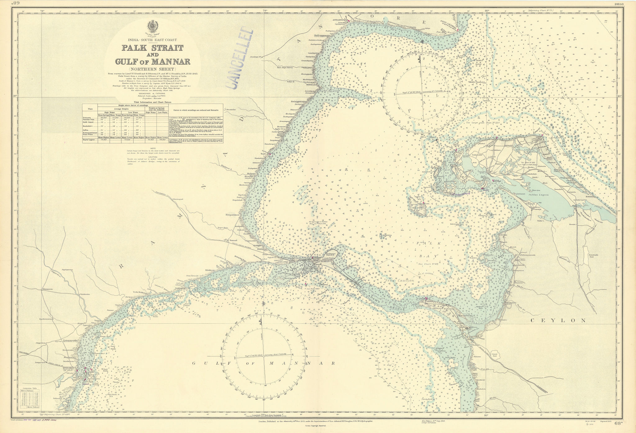 Palk Strait Mannar Gulf Adam's Bridge Sri Lanka ADMIRALTY chart 1931 (1954) map