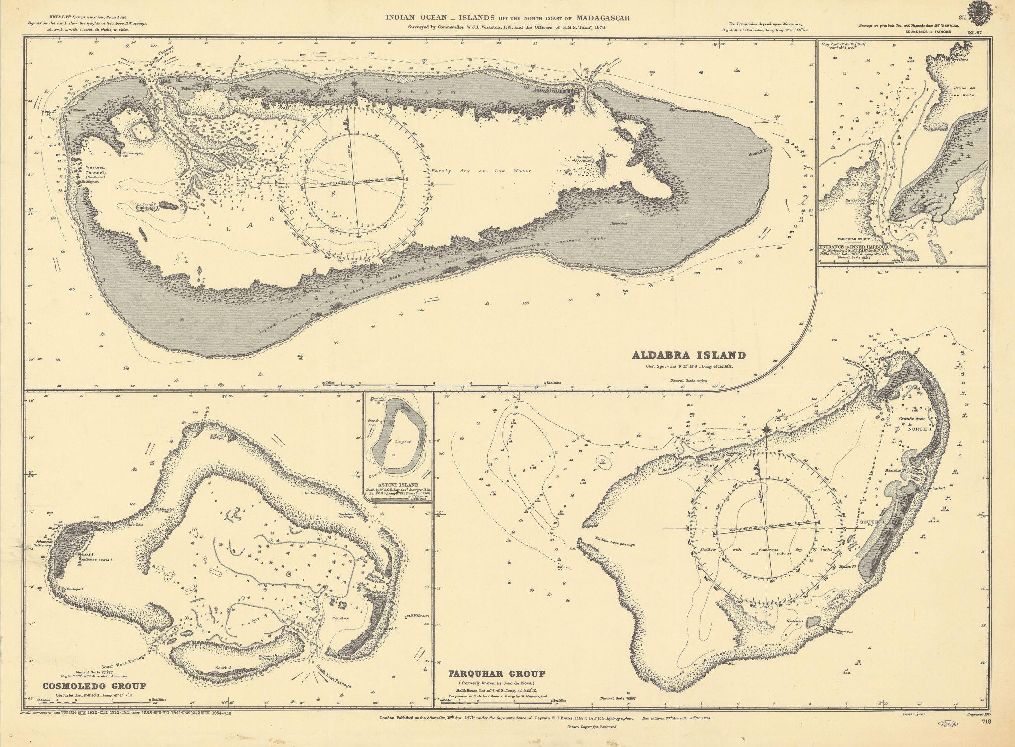 Seychelles Cosmoledo Aldabra Farquhar Atolls ADMIRALTY sea chart 1879 (1954) map