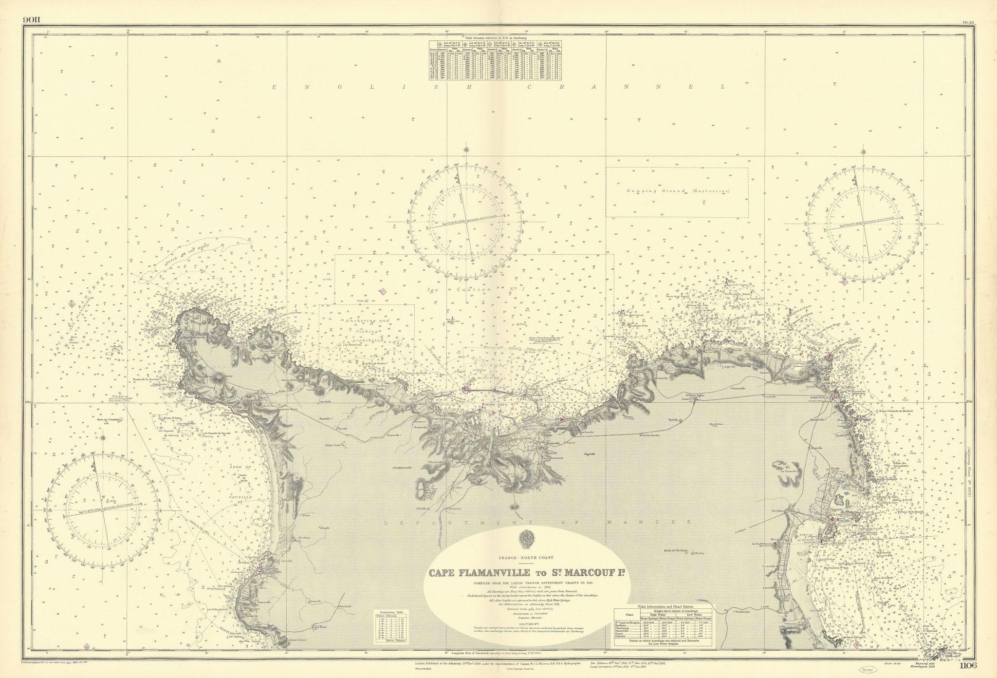 North Cotentin coast. Cherbourg. Manche. ADMIRALTY sea chart 1888 (1954) map