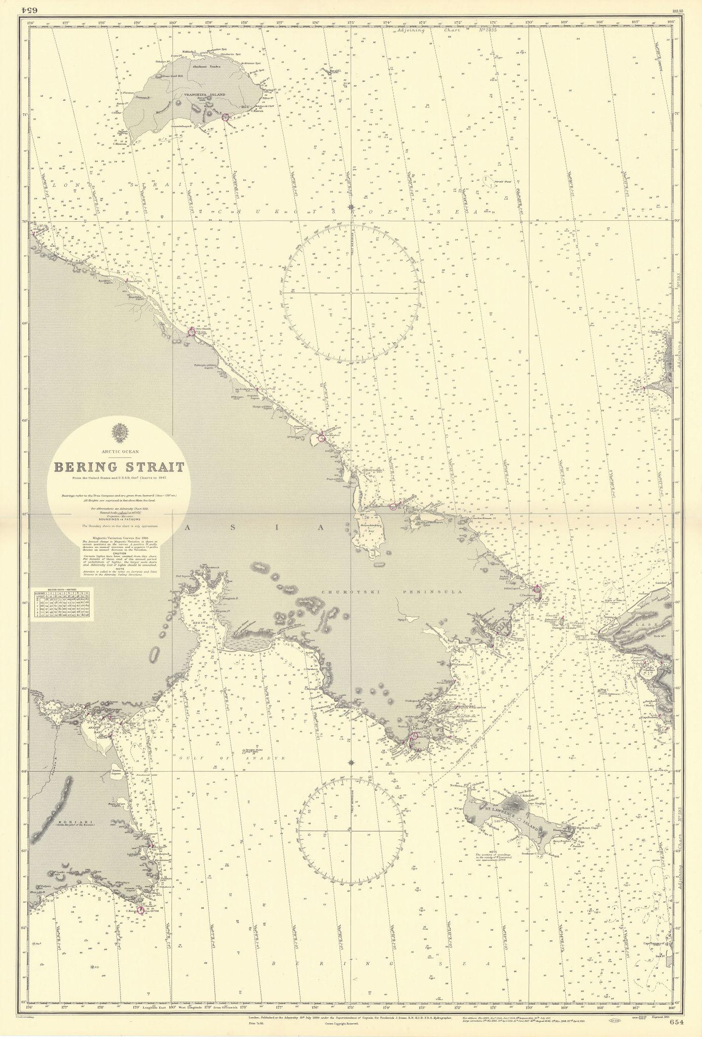 Bering Strait, Arctic Ocean. Russia Alaska. ADMIRALTY sea chart 1884 (1955) map