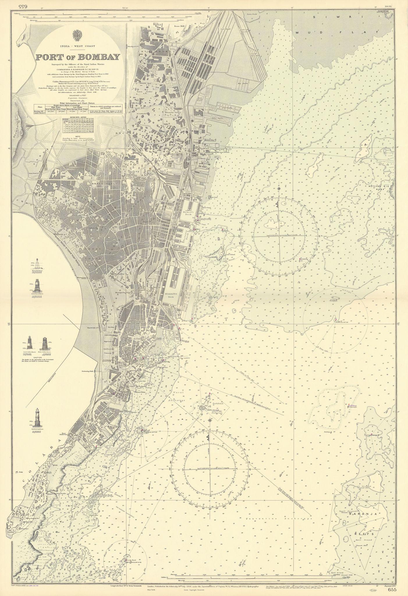 Port of Bombay. Mumbai India. ADMIRALTY sea chart 1894 (1956) old vintage map