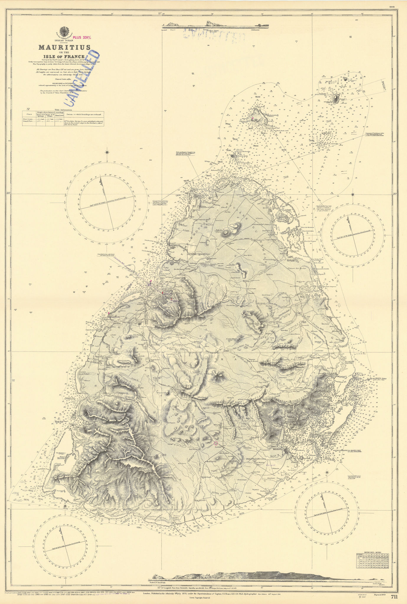 Mauritius or Isle of France, Indian Ocean. ADMIRALTY sea chart 1879 (1955) map