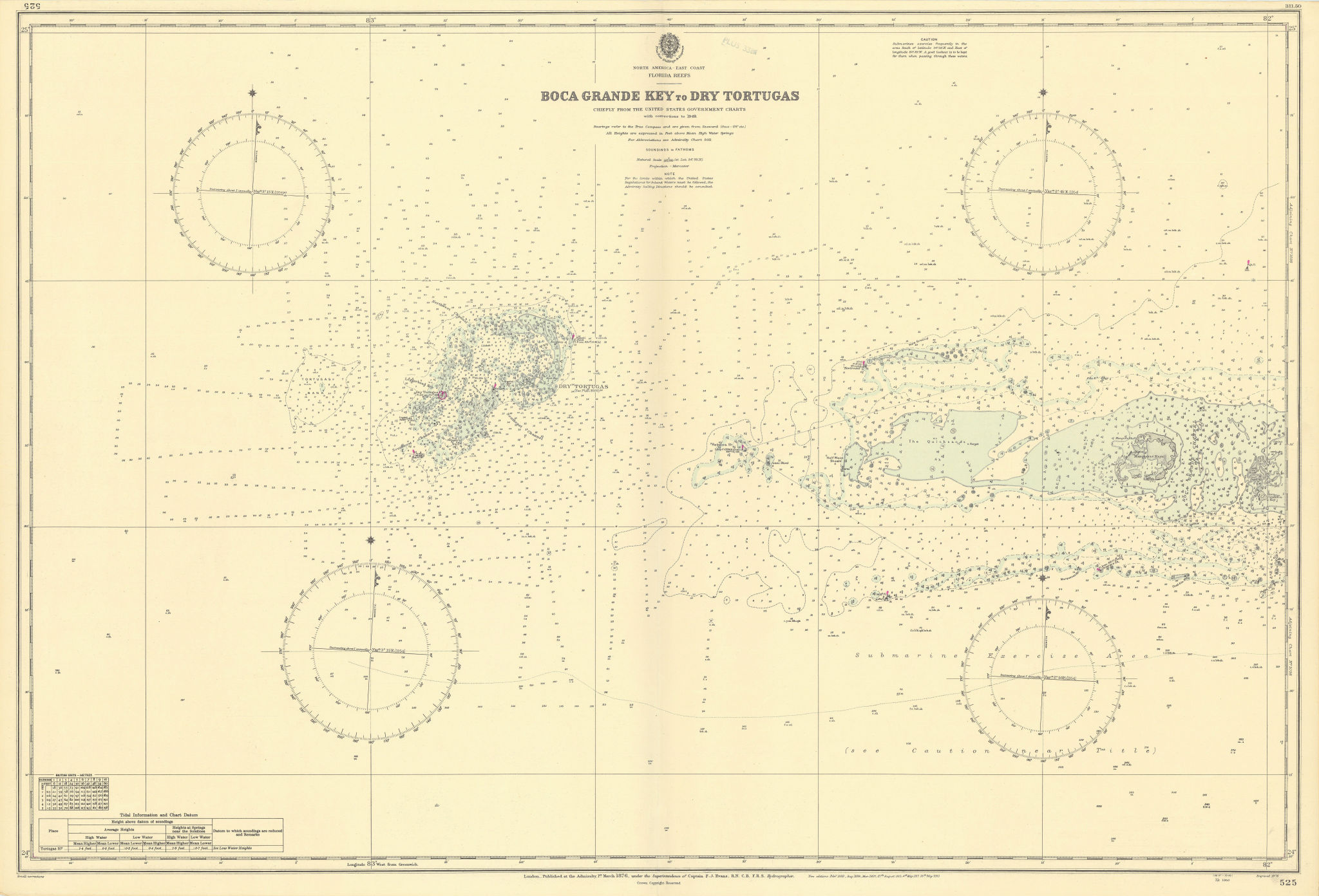 Florida Keys Boca Grande Marquesas Dry Tortugas ADMIRALTY chart 1876 (1950) map