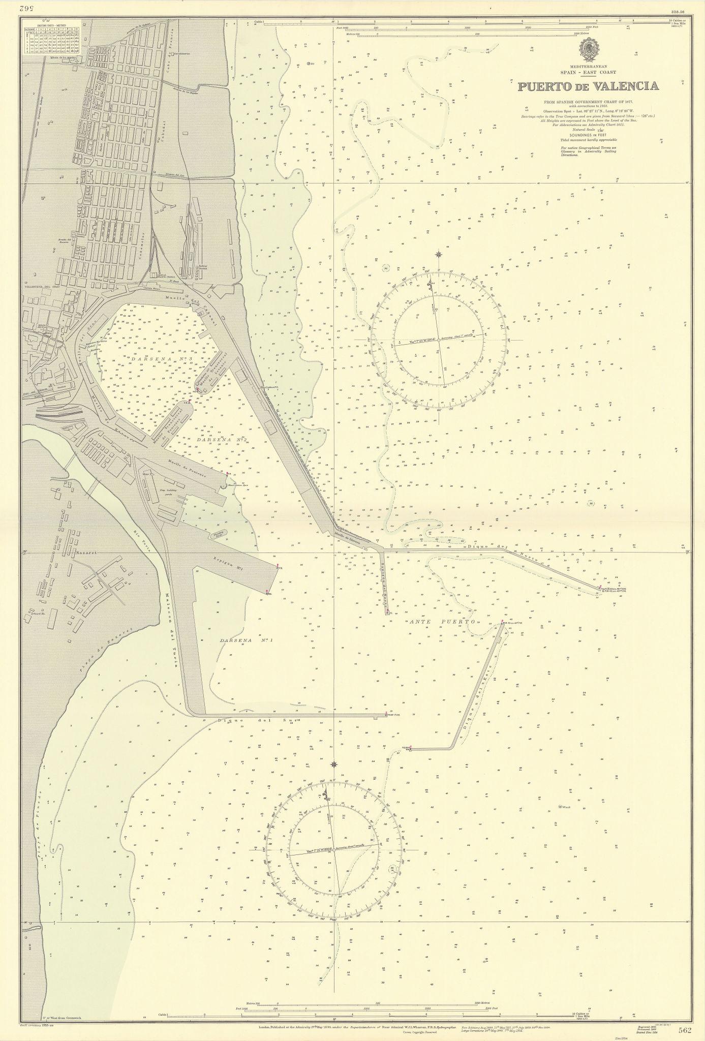 Puerto de Valencia, Spain. ADMIRALTY sea chart 1895 (1955) old vintage map