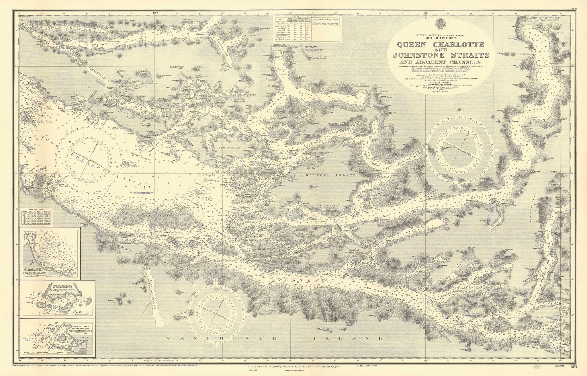 British Columbia Vancouver Isl. Johnstone Strait ADMIRALTY chart 1935 (1956) map