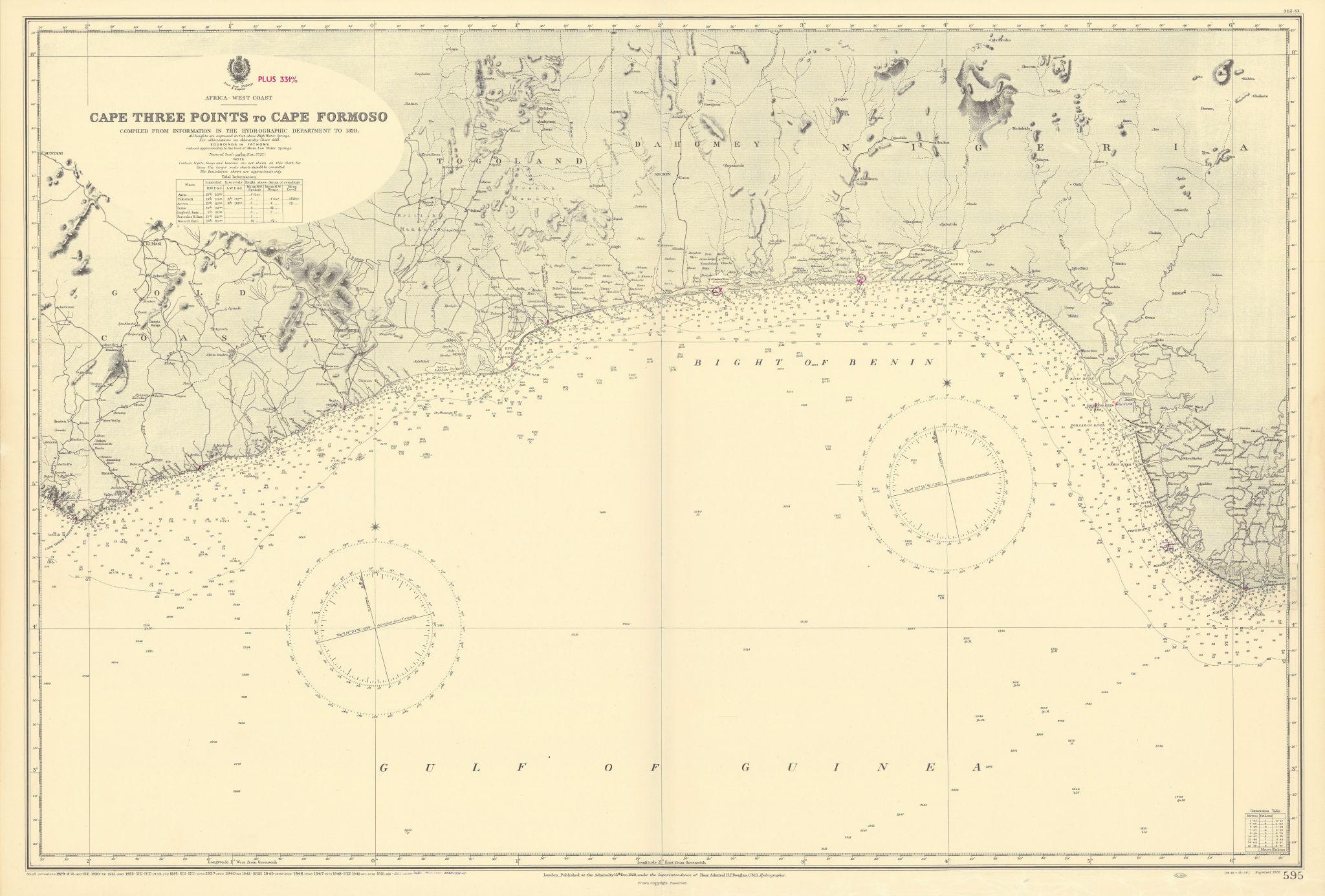 Gulf of Guinea. Ghana Togo Benin Nigeria. ADMIRALTY sea chart 1928 (1954) map