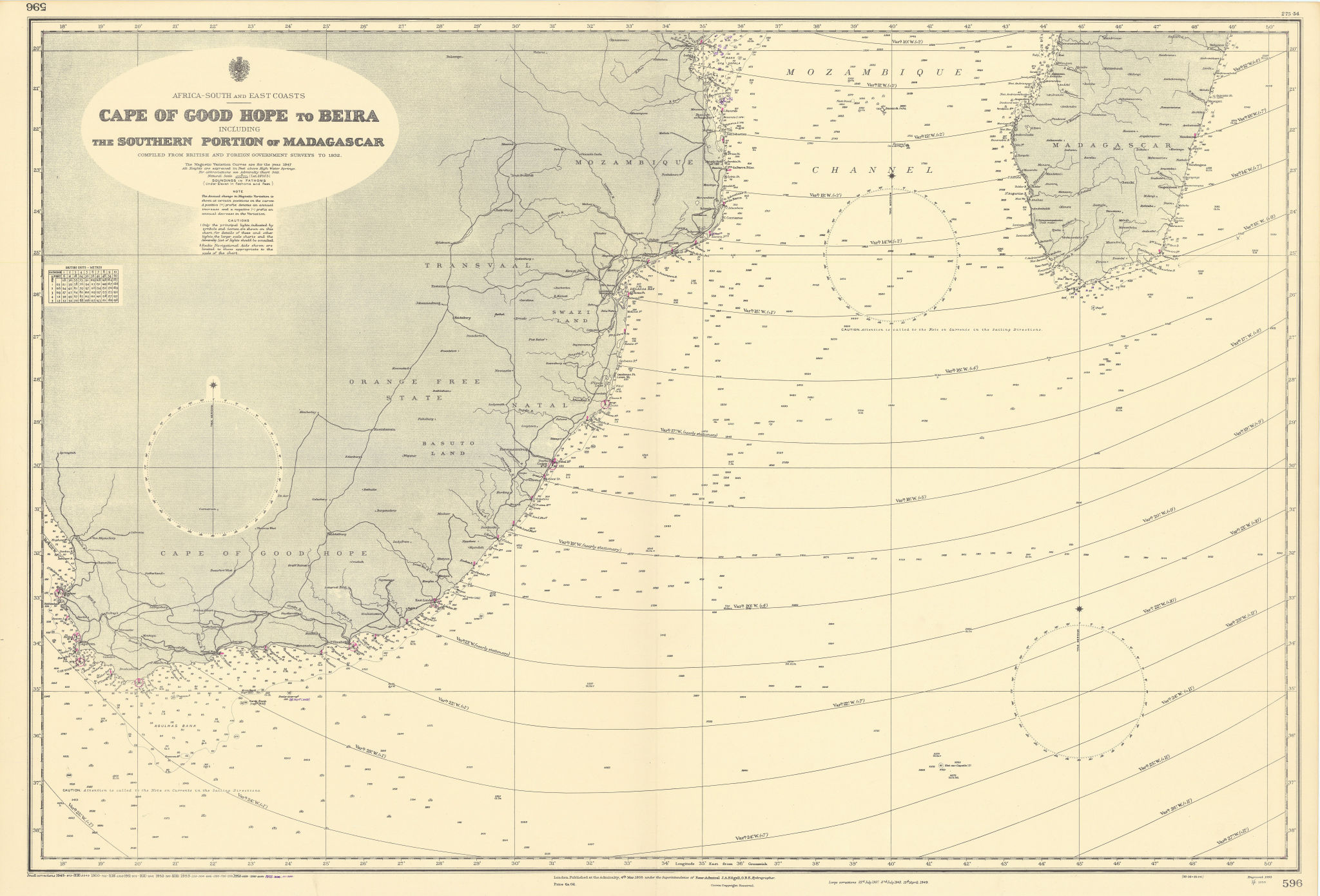 Southern Africa Cape of Good Hope-Madagascar ADMIRALTY sea chart 1935 (1955) map