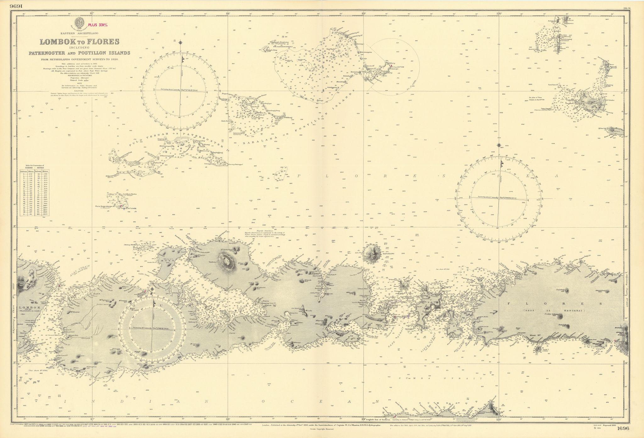 Sumbawa Komodo Flores Paternoster Indonesia. ADMIRALTY sea chart 1892 (1955) map