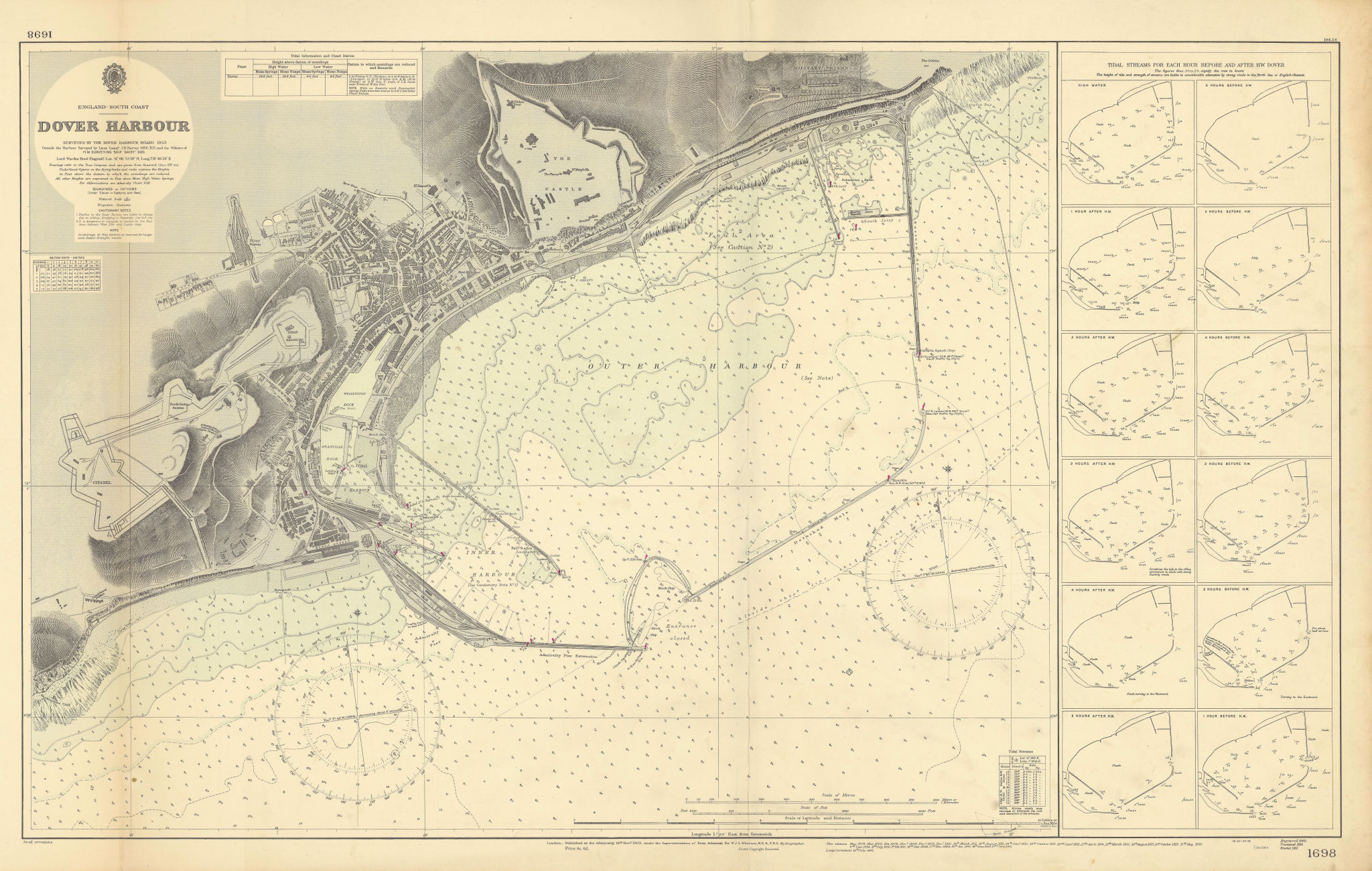 Dover Harbour, Kent. ADMIRALTY sea chart city map 1903 (1954) old vintage