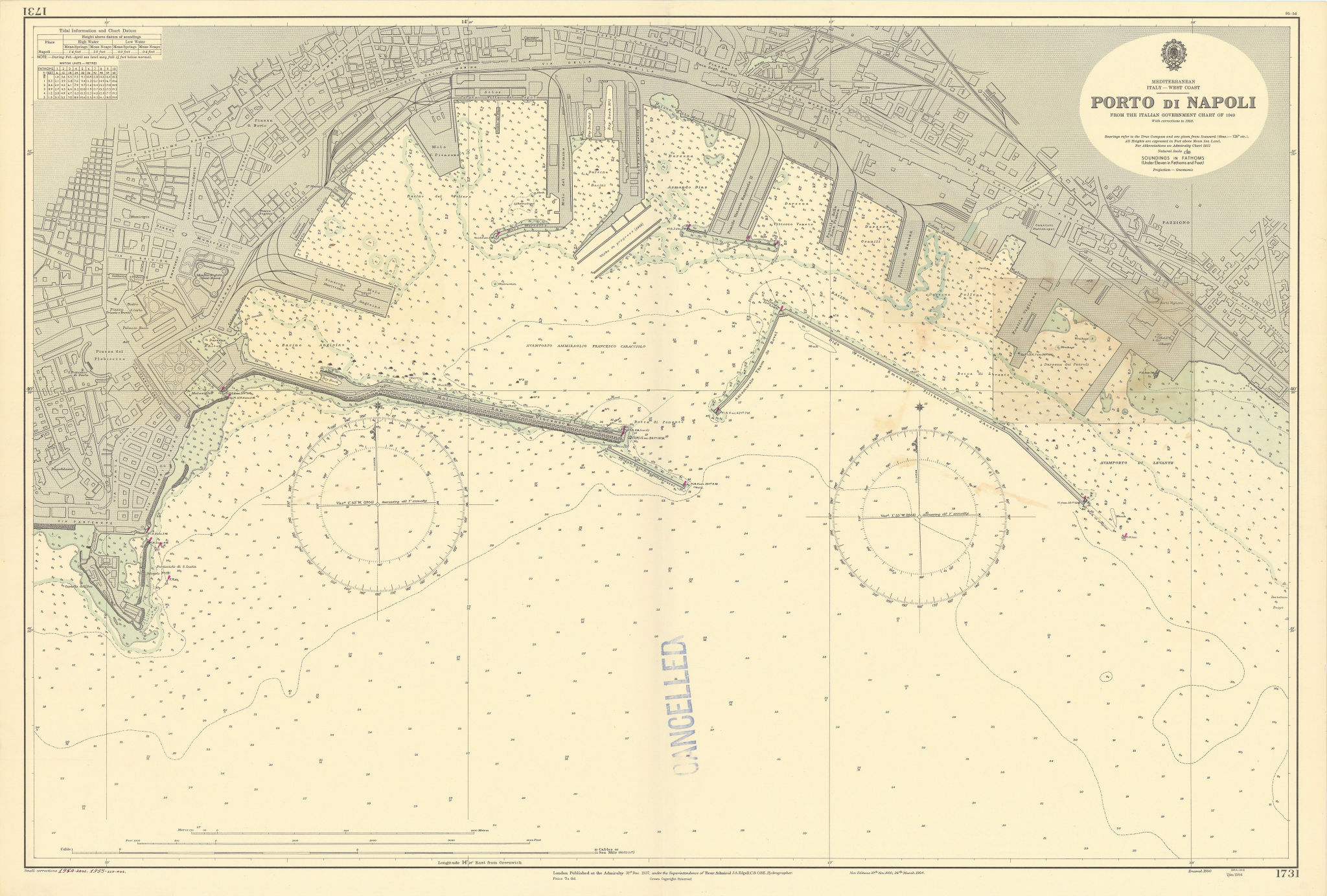 Port di Napoli. Naples, Italy. ADMIRALTY sea chart 1937 (1955) old vintage map