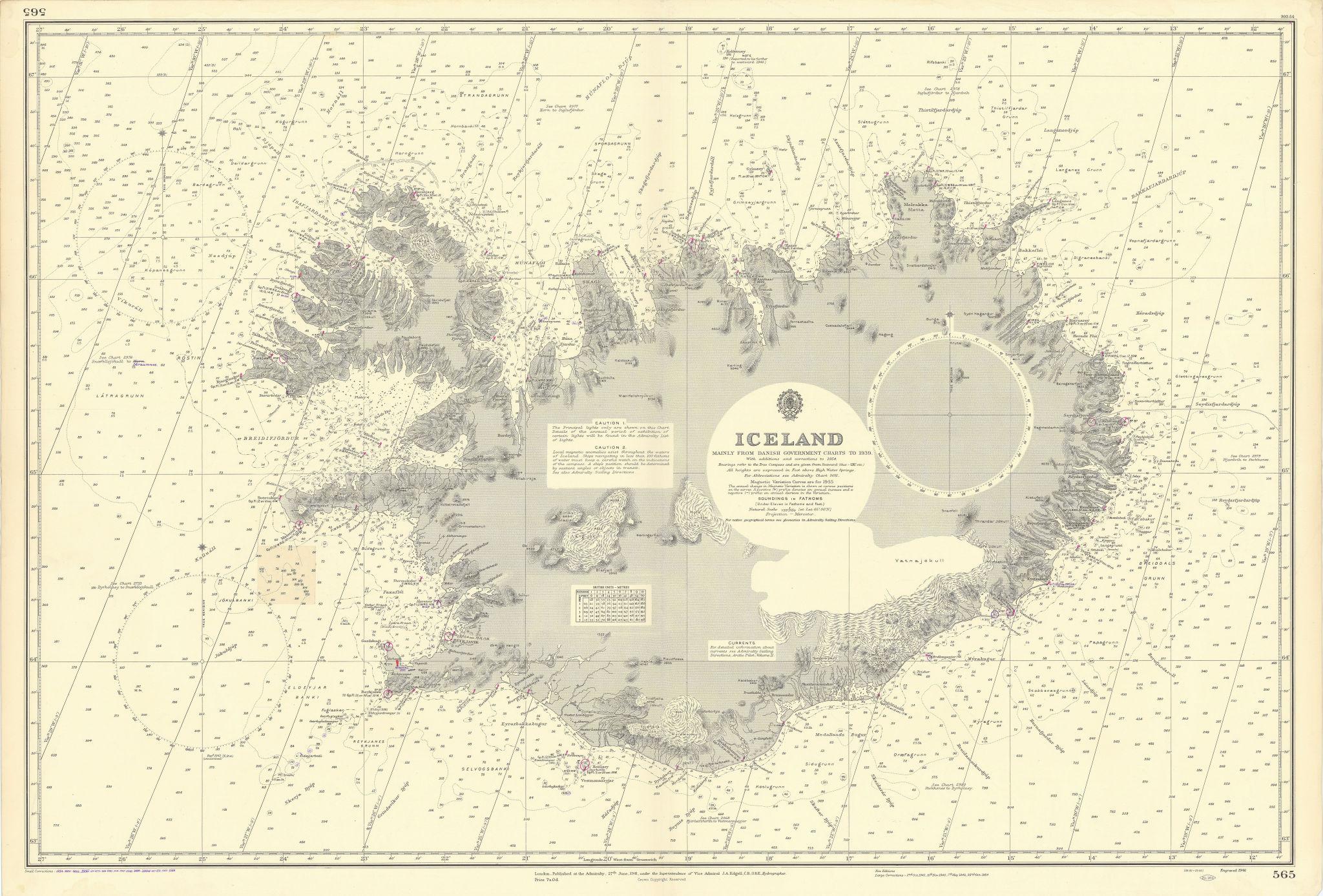 Iceland. Norwegian Sea. North Atlantic. ADMIRALTY sea chart 1941 (1956) map