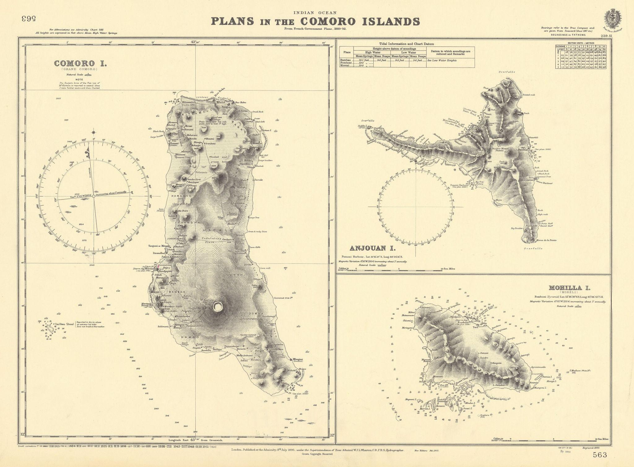 Comoros Grande Comore Anjoun Nzwani Mohéli ADMIRALTY chart 1895 (1951) old map