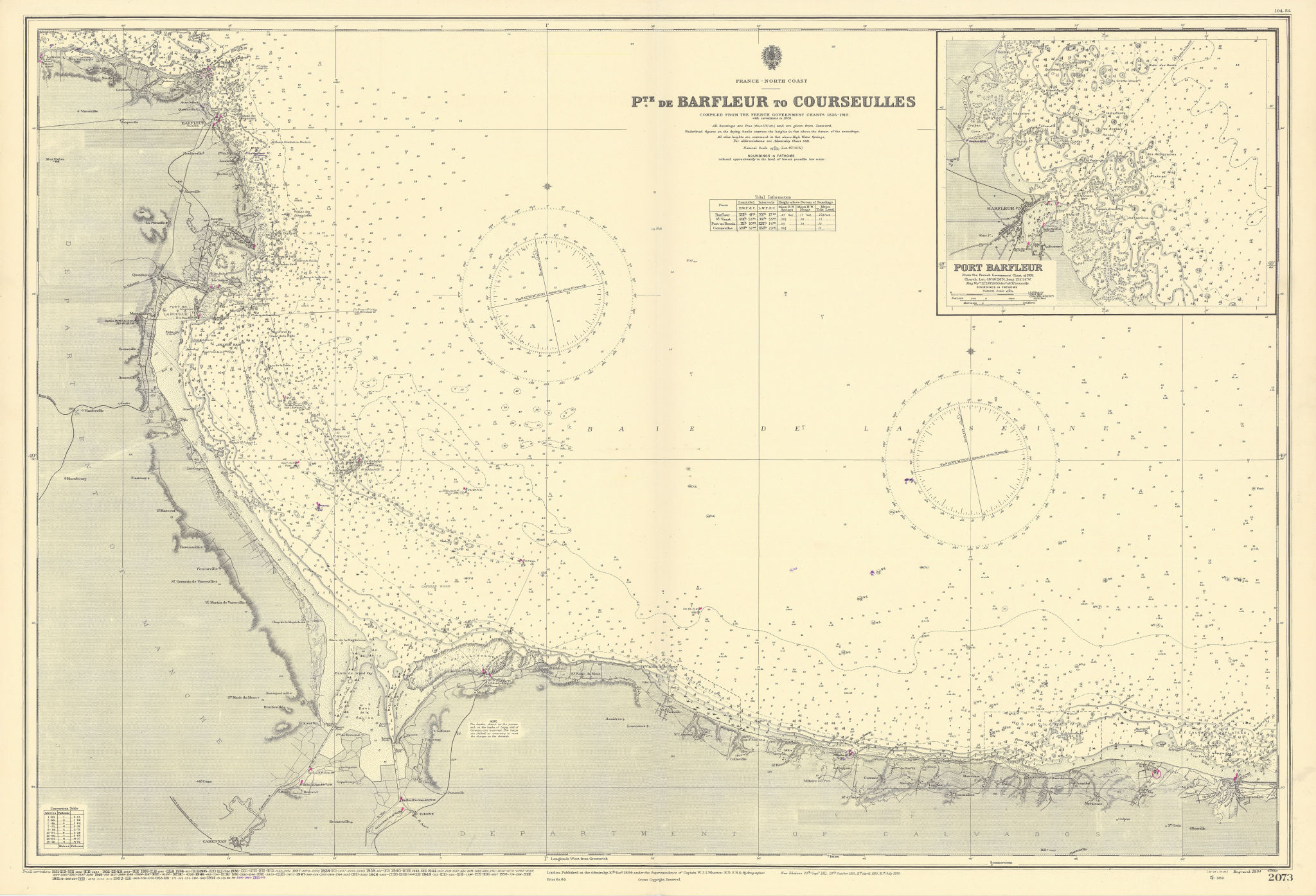 Normandy coast Omaha Gold D-Day beaches ADMIRALTY sea chart 1894 (1955) map