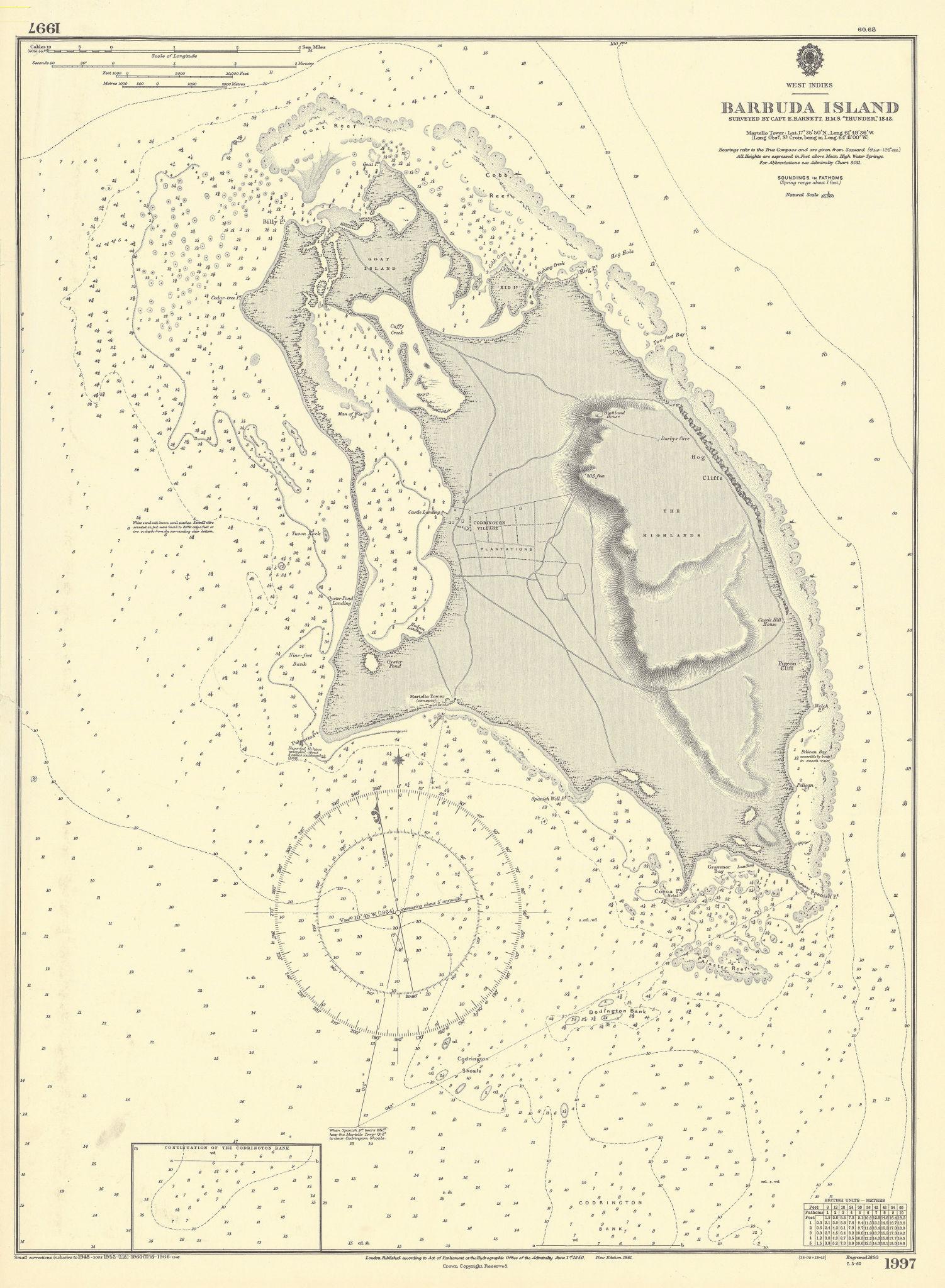 Barbuda Island. West Indies Caribbean. ADMIRALTY sea chart 1850 (1966) old map