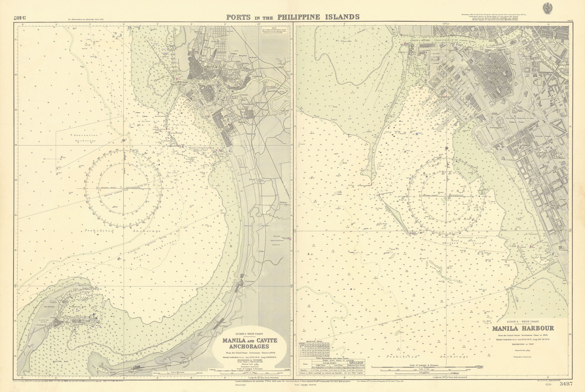 Philippines Ports. Manila Cavite Anchorages. ADMIRALTY sea chart 1923 (1956) map
