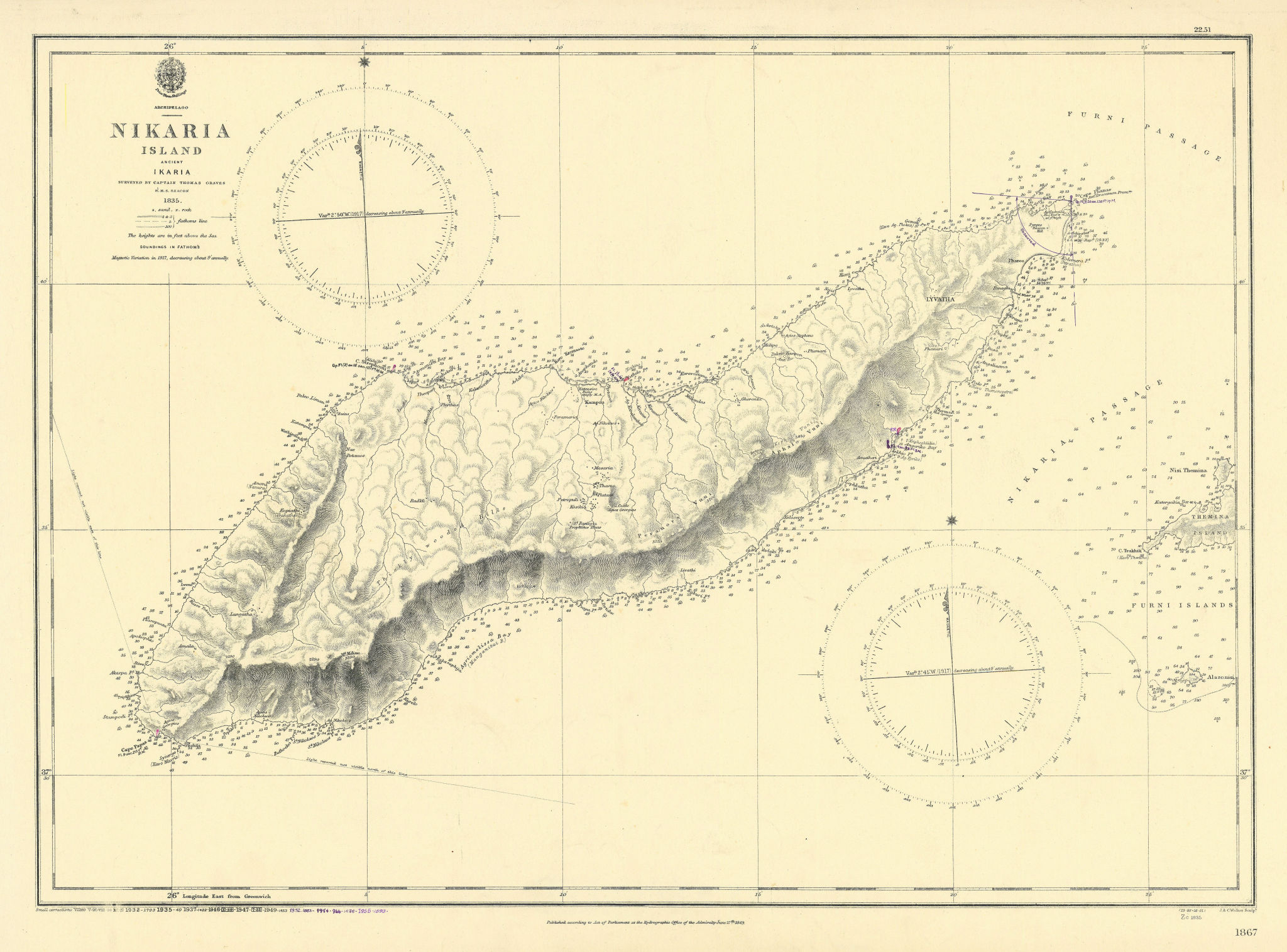 Nikaria Island Ikaria Icaria North Aegean Greece ADMIRALTY chart 1849 (1955) map